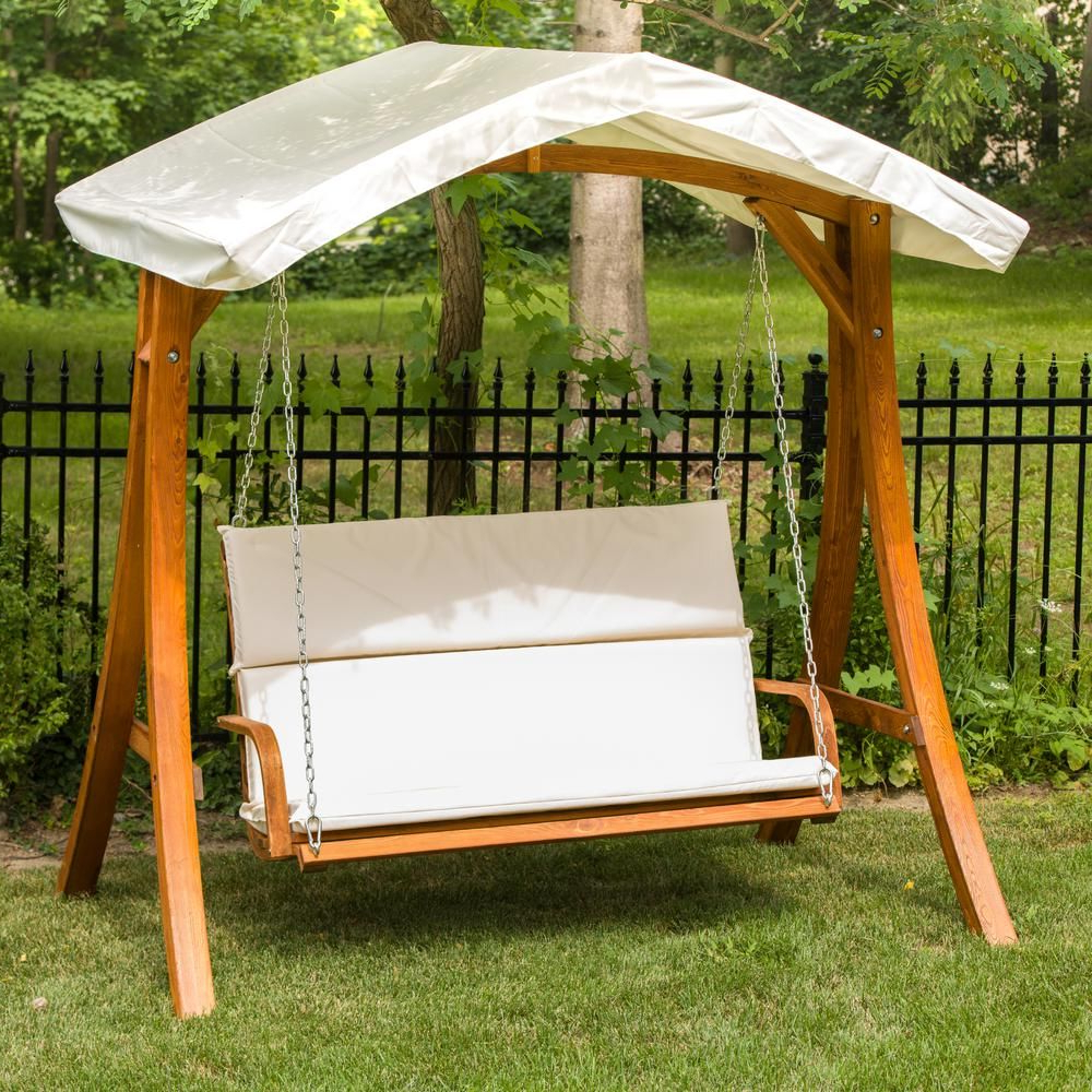 Porch In Canopy Patio Porch Swing With Stand (View 4 of 30)