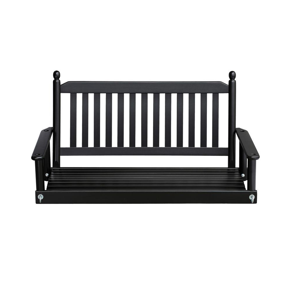 Porch Swing, Porch In 2 Person Black Wood Outdoor Swings (View 2 of 30)