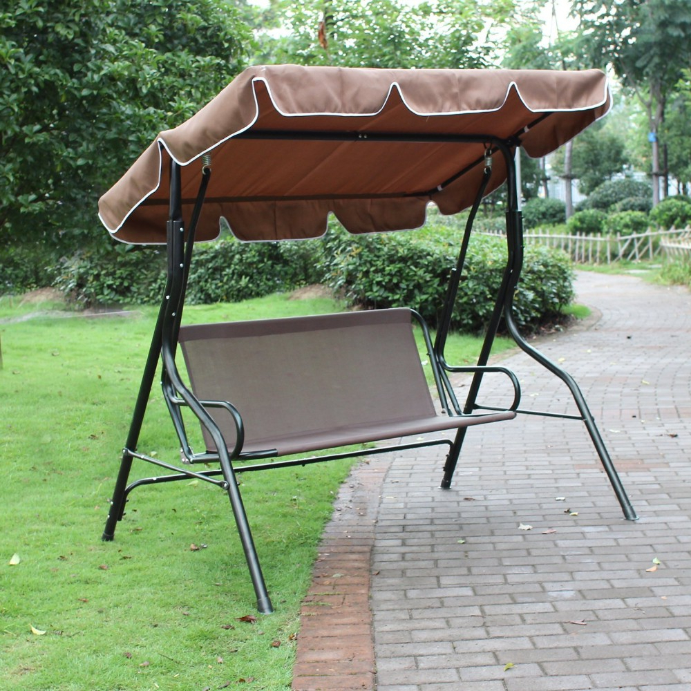 Porch Swings Pertaining To Well Liked Canopy Awning Porch Swings Bench,outdoor Chair For Two Or Three,brown – Buy Porch Swings,canopy Awning Porch Swings,canopy Awning Porch Swings Bench (View 13 of 30)