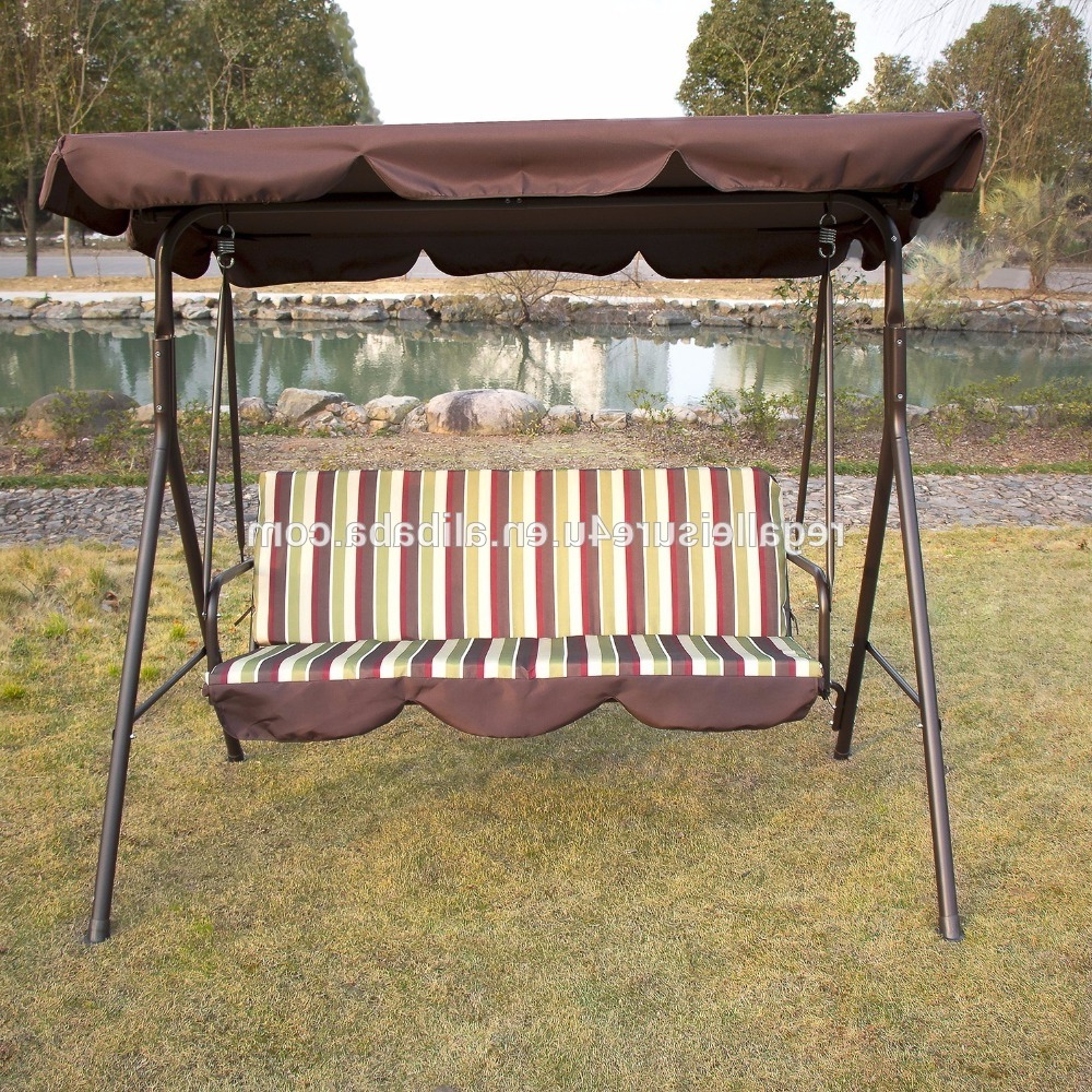 Porch Swings Regarding Fashionable Outdoor 3 Person Patio Cushioned Porch Swing Swg 000111 – Buy 3 Person Swing With Canopy,canopy Patio Swings,patio Swing With Canopy Product On (View 17 of 30)