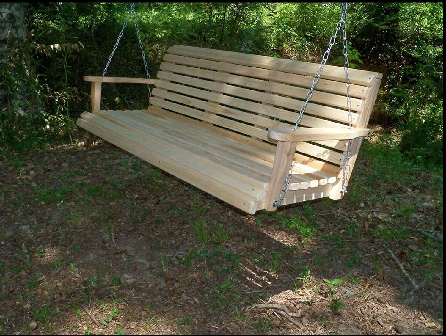 Porch Swings Regarding Well Liked Ecommersify Inc 5 Five Feet Ft Made In The Usa Rot Resistant Cypress Lumber Roll Back Porch Swing With Swing Mate Comfort Springs (View 9 of 30)