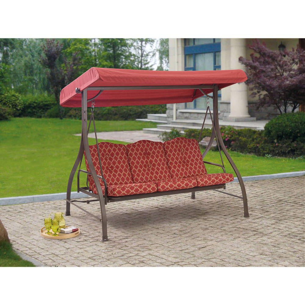 Porch Swings With Canopy With Most Recently Released Outdoor 3 Person Swing Canopy Hammock Seat Patio Deck (View 5 of 30)