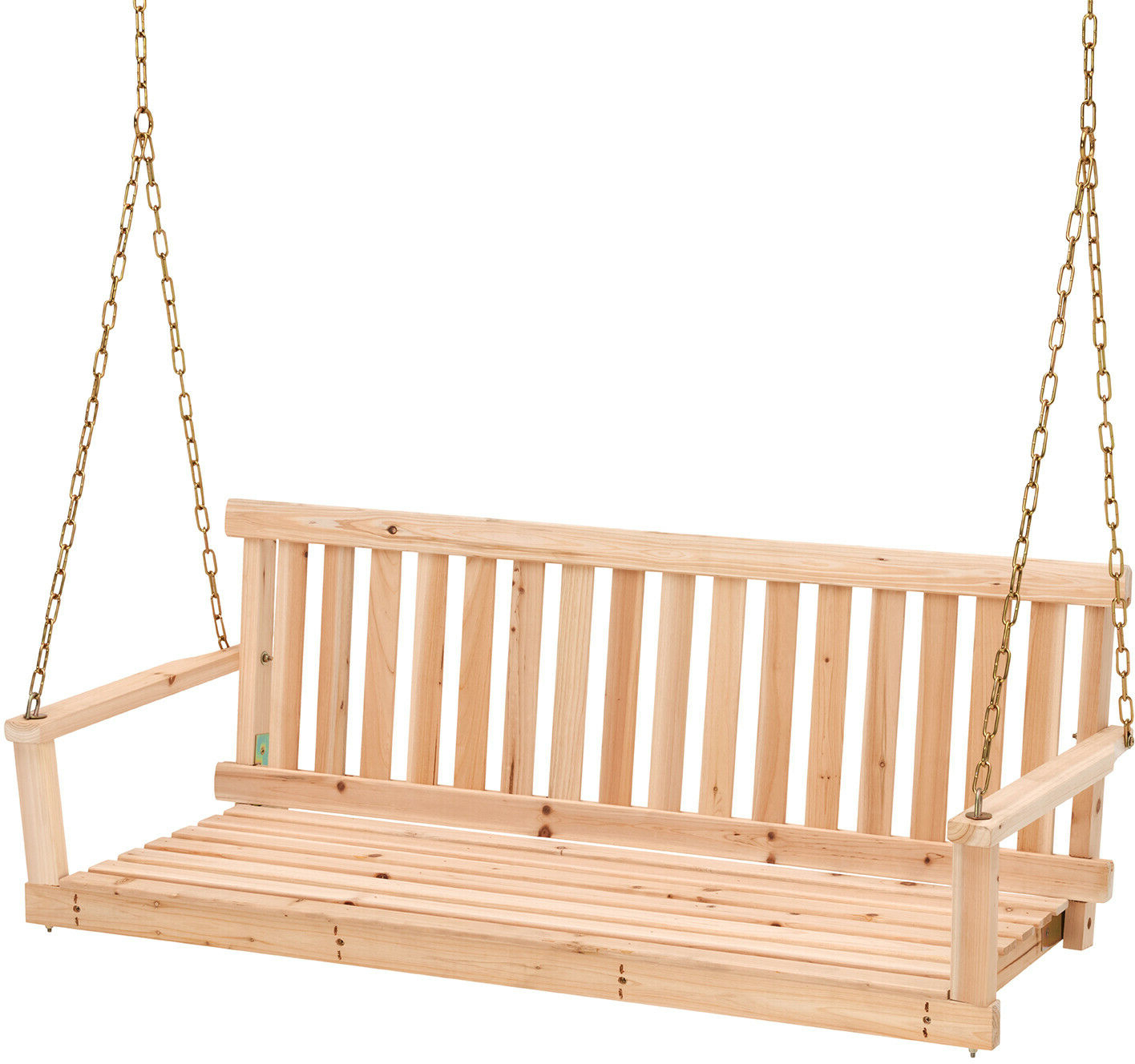 Porch Swings With Chain Intended For Trendy 4 Swing W/ Chains Wood Porch Natural Finish Garden Yard Patio Outdoor Furniture (View 21 of 30)