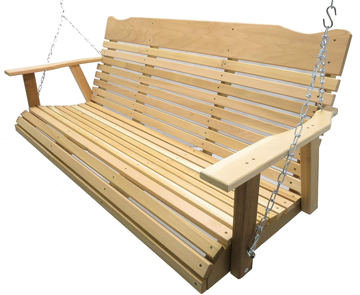 Porch Swings With Chain Intended For Well Known Kilmer Creek 5' Natural Cedar Porch Swing, Amish Crafted – Includes Chain & Springs (View 29 of 30)