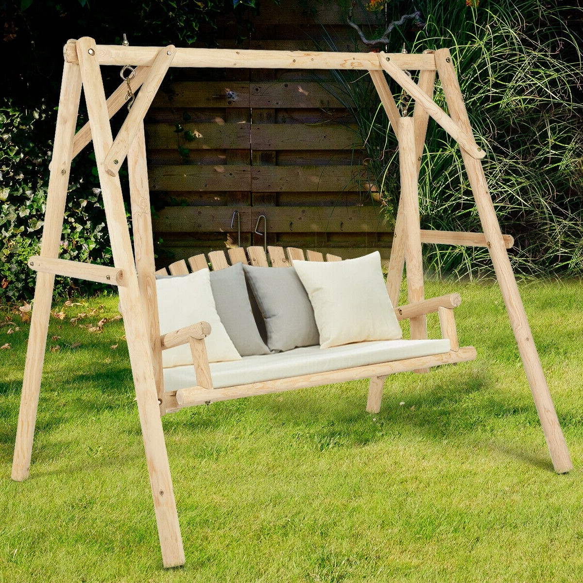 Porch Swings With Stand In Well Known Rustic Wooden Porch Swing Bench With A Frame Stand Set (View 26 of 30)