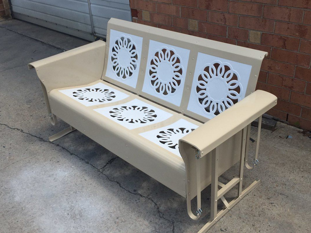 Powdercoated Restored Vintage Metal Patio Gliders – Vintage Inside Well Known Metal Retro Glider Benches (View 24 of 30)