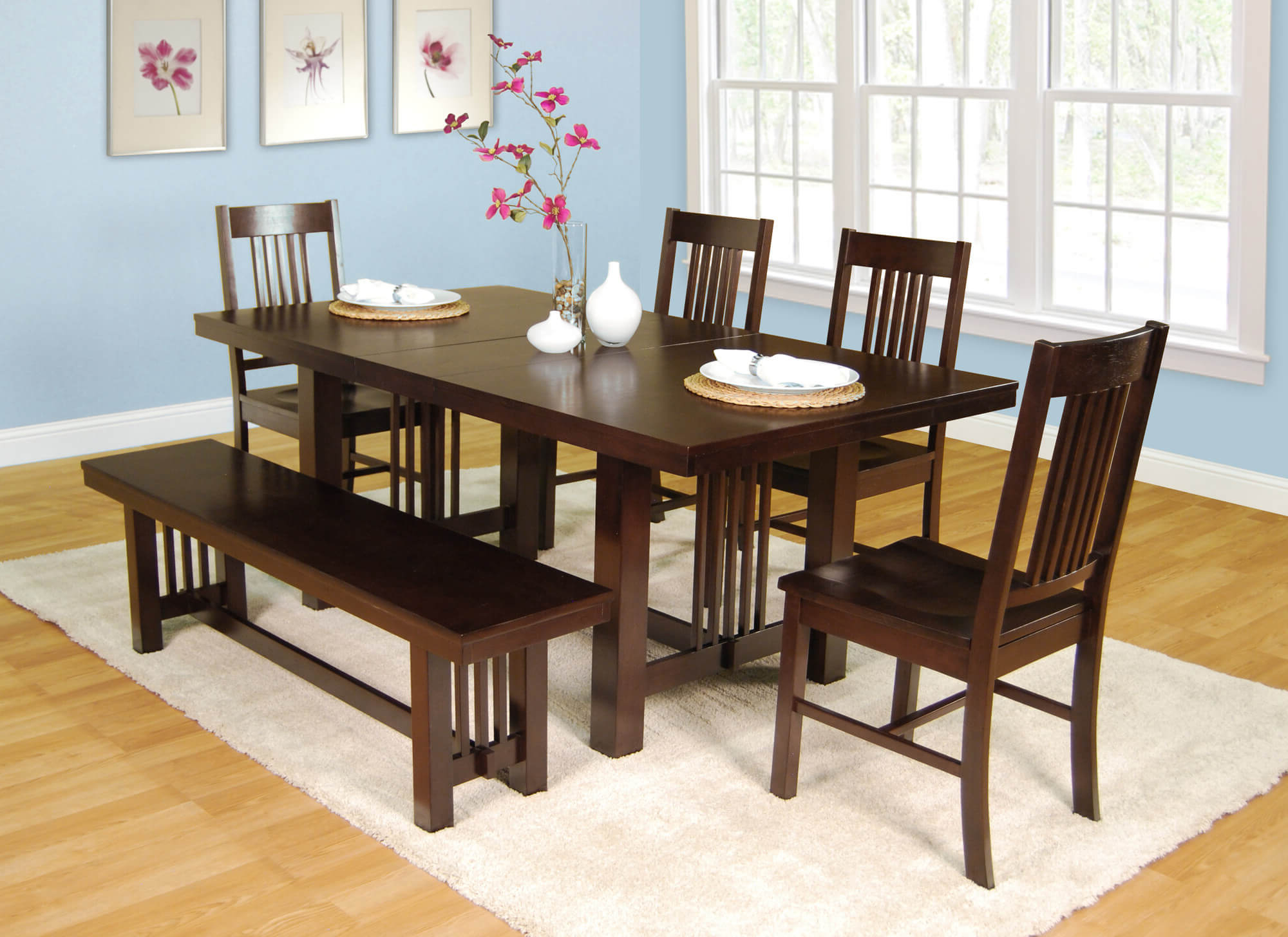 Preferred 10 Modern Walnut Finish Dining Room Table Set Furniture Throughout Large Rustic Look Dining Tables (View 13 of 30)