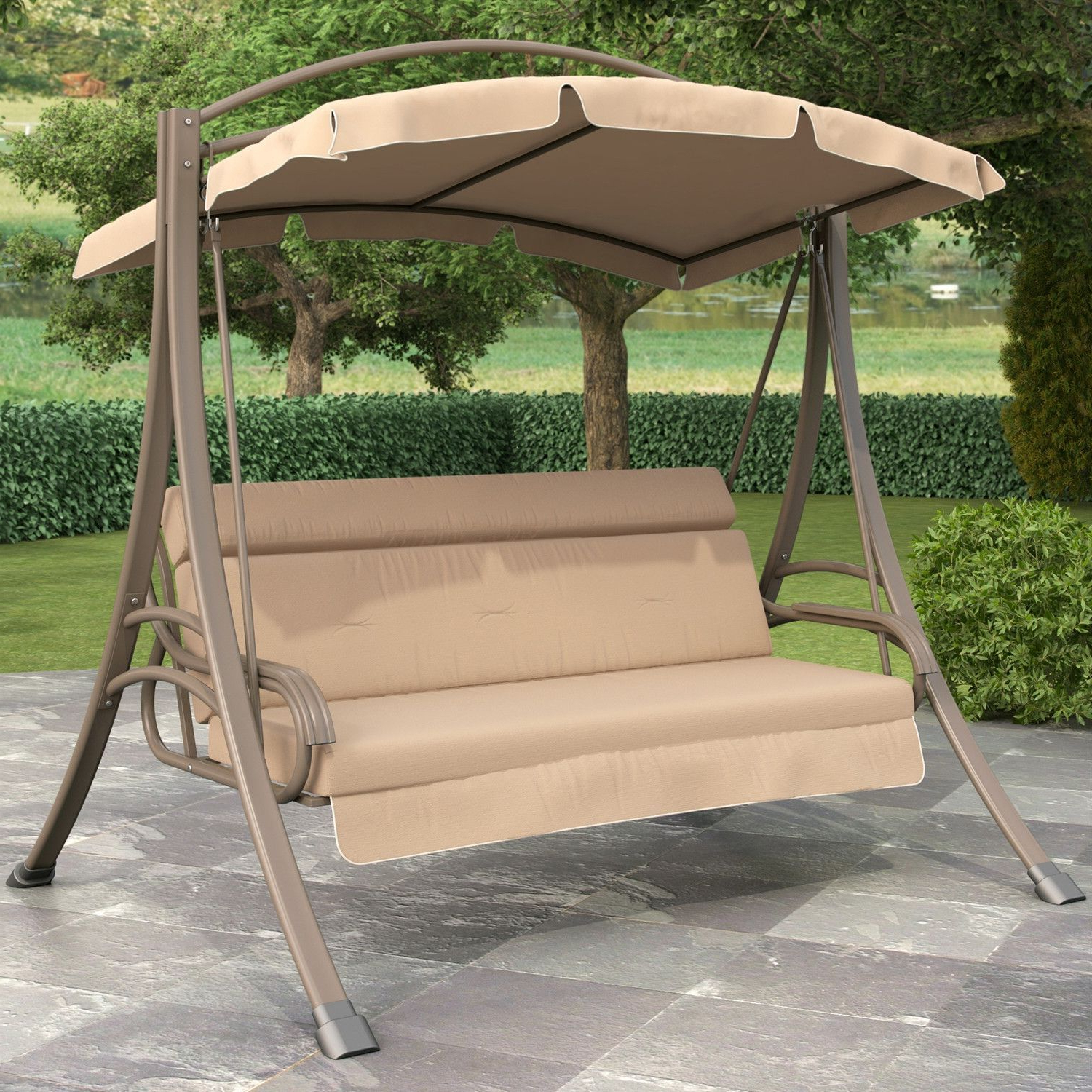 Preferred 3 Person Brown Steel Outdoor Swings Throughout 3 Person Outdoor Porch Swing With Canopy In Beige Tan Brown (View 10 of 30)