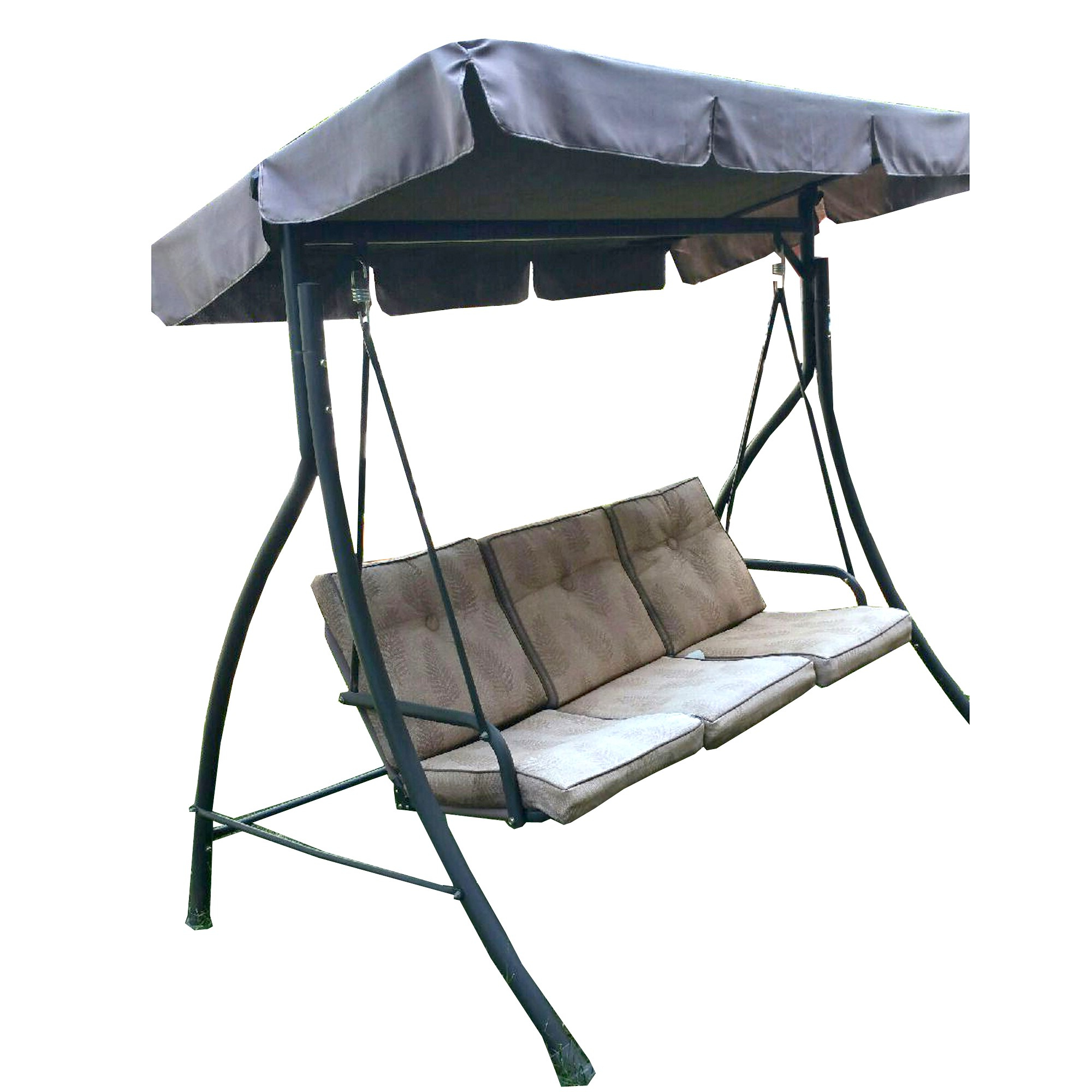Preferred 3 Person Brown Steel Outdoor Swings Throughout Replacement Canopy For Hd Flat Roof 3 Person Swing Garden Winds (View 25 of 30)