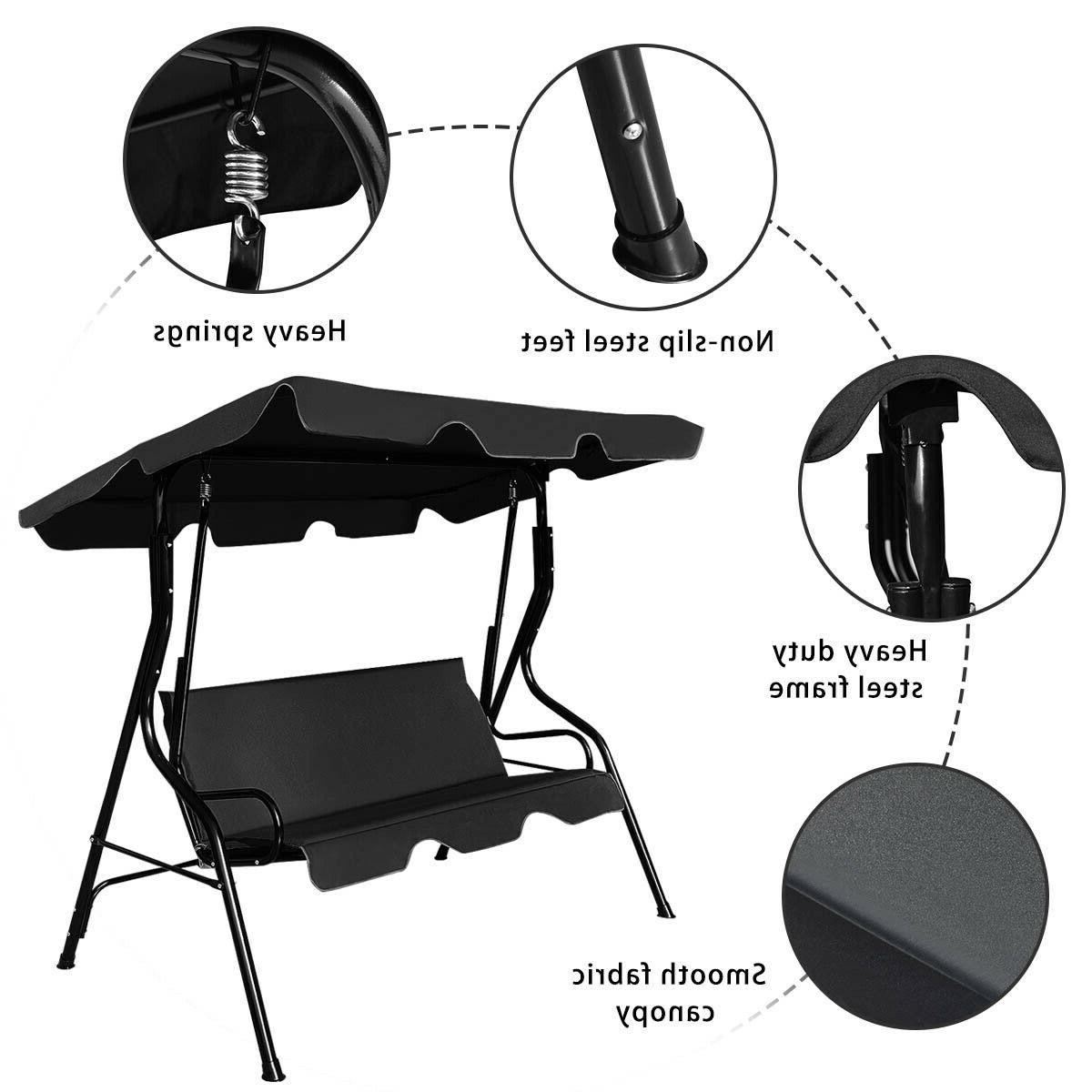 Preferred 3 Seats Patio Canopy Swing Gliders Hammock Cushioned Steel Frame In Costway 3 Seats Patio Canopy Swing Glider Hammock Cushioned (View 23 of 30)