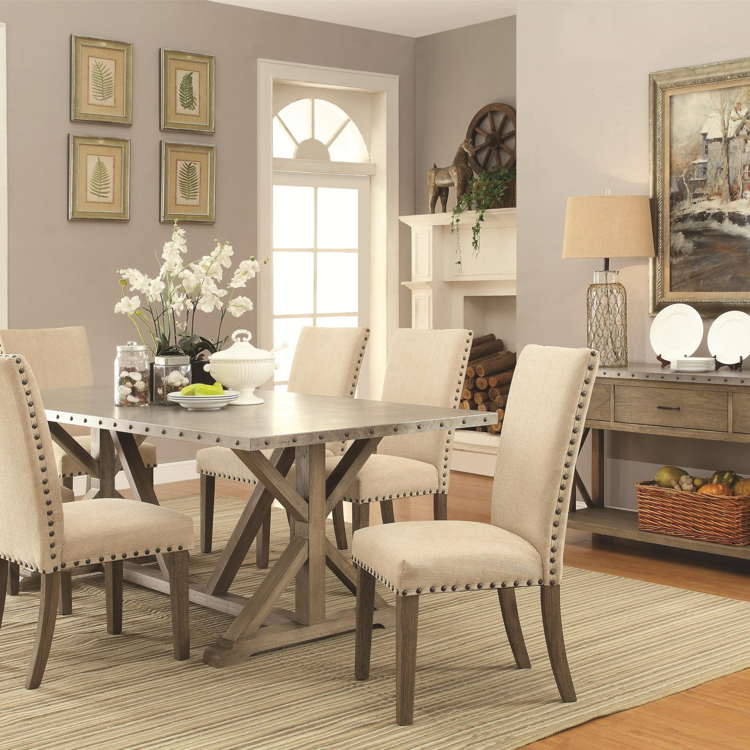 Preferred 7 Piece Transitional Style Table And Chair Set With Metal Regarding Transitional 6 Seating Casual Dining Tables (View 18 of 30)