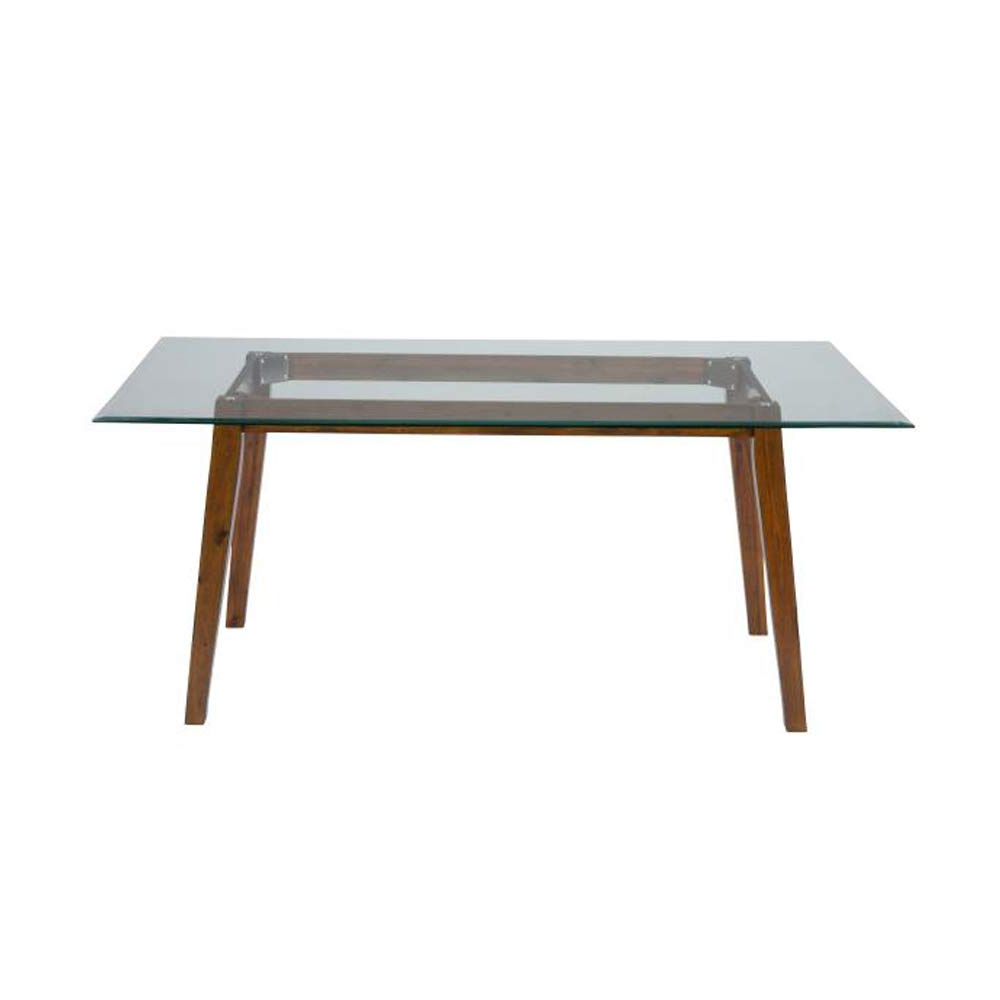 Preferred Amazon – Benzara Bm183561 Wooden Dining Table With Glass With Regard To Rectangular Glasstop Dining Tables (View 14 of 30)