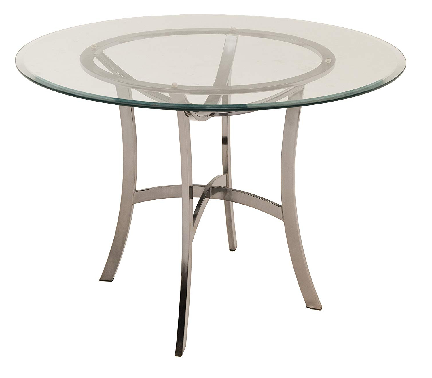 Preferred Amazon: Impacterra Palisades Dining Table, Black Nickel Regarding Round Glass Top Dining Tables (View 25 of 30)