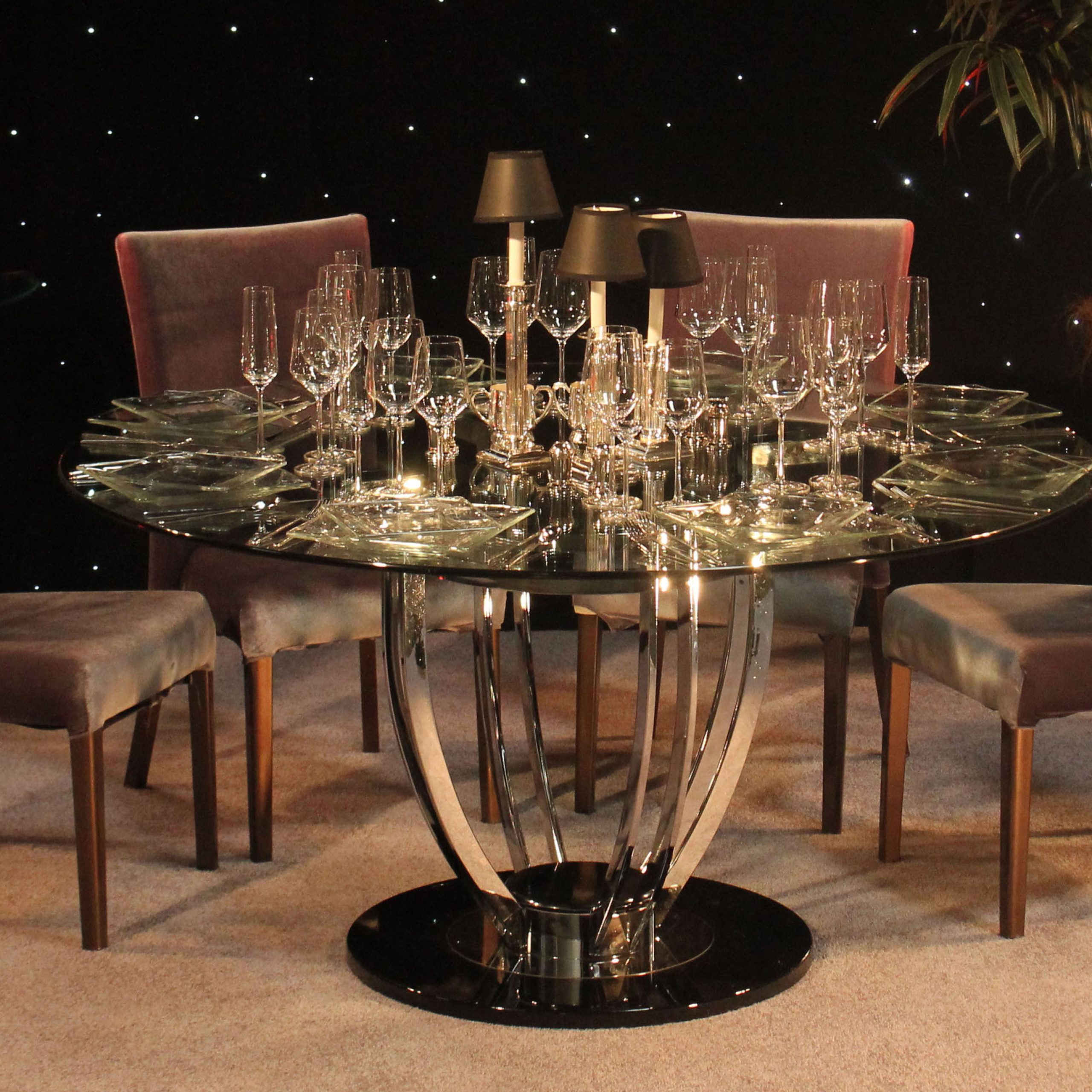 Preferred Art Deco Moderne Chrome & Glass Dining Table (View 9 of 30)