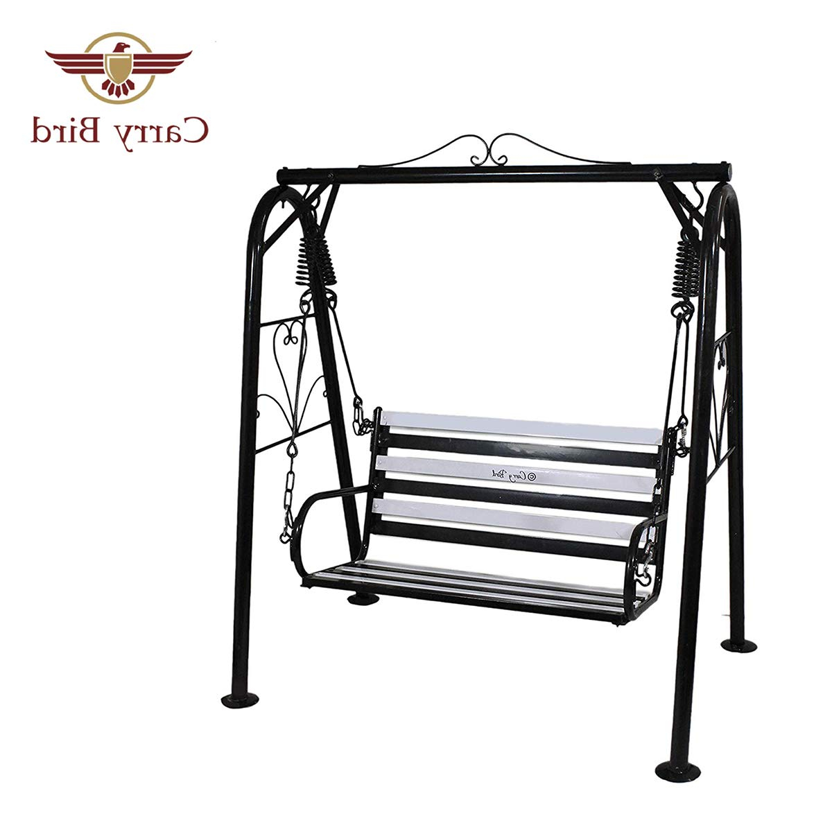 Preferred Carry Bird 2 Person Art Deco Vintage Inspired Yard Garden Lawn Hanging Patio Porch Swing Chair With Strong Weather Resistant Powder Coated Metal Iron For 2 Person Antique Black Iron Outdoor Swings (View 13 of 30)