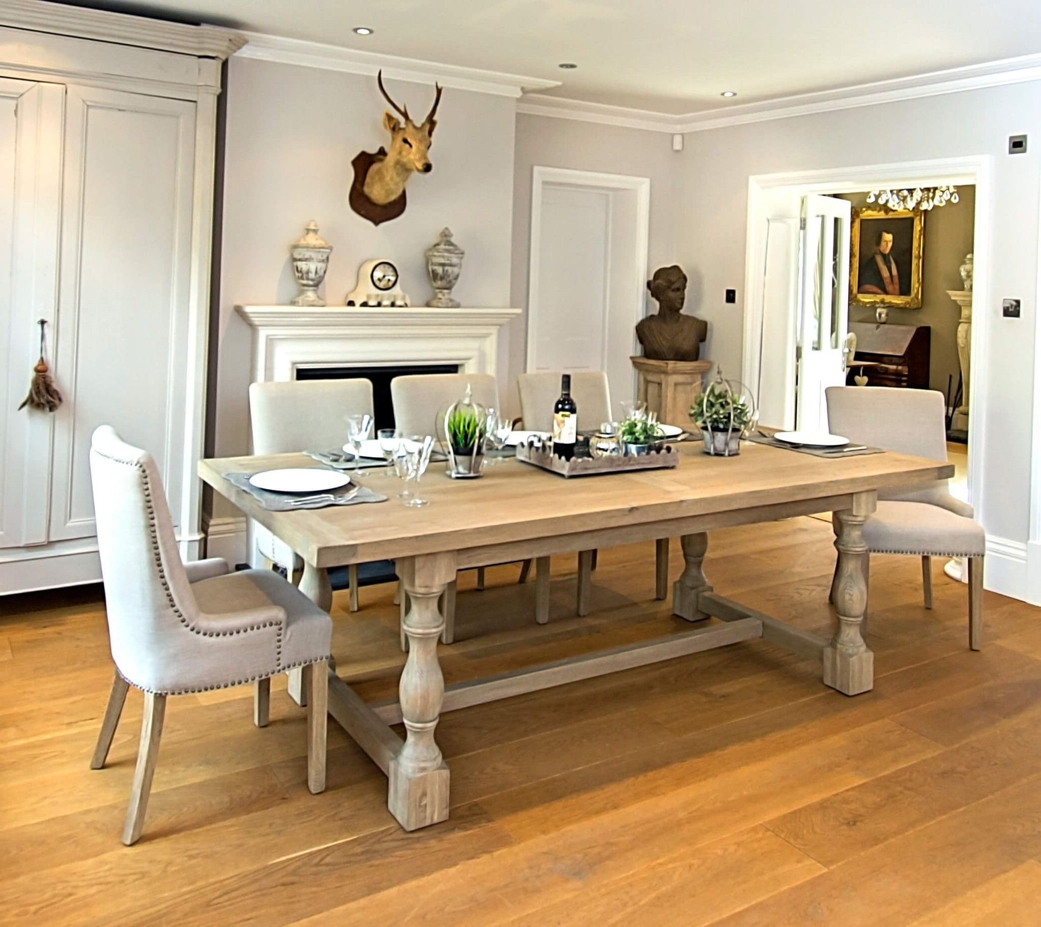 Preferred Country Dining Tables With Weathered Pine Finish With Regard To Montague Large Weathered Oak Rectangular Dining Table – La (View 7 of 30)