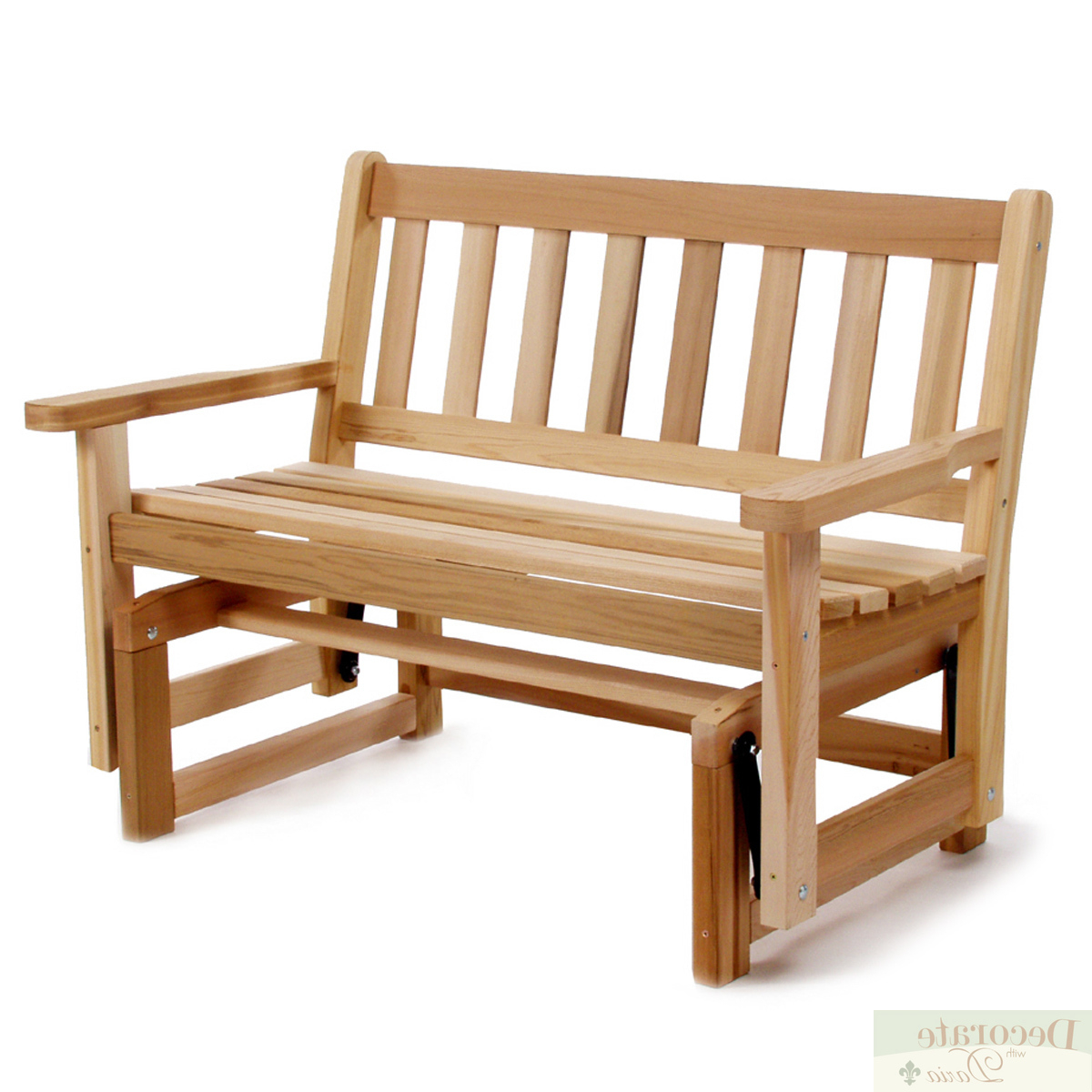 """Preferred Details About Glider Bench Motion 48"""" Red Cedar Handcrafted Curved Seat Shaker Style Back New Intended For 2 Person Natural Cedar Wood Outdoor Gliders (View 17 of 30)"""