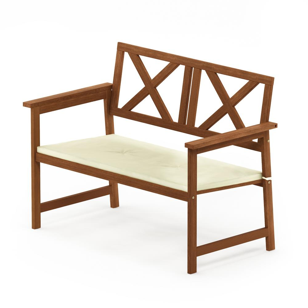 Preferred Details About Tioman Hardwood X Back Bench In Teak Oil With Cushion Pertaining To 3 Person Light Teak Oil Wood Outdoor Swings (View 23 of 30)