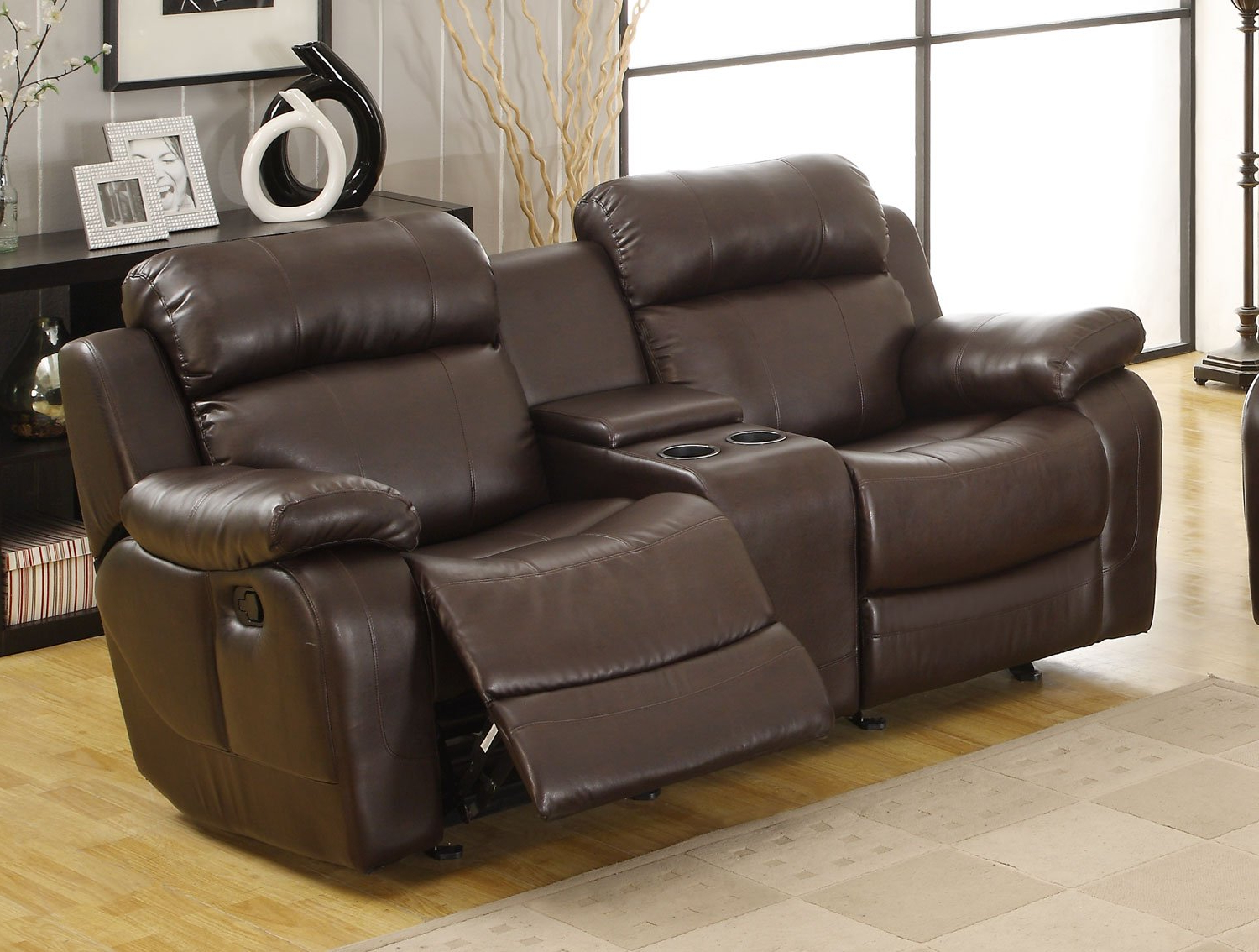 Preferred Double Glider Loveseats Pertaining To Marille Dark Brown Double Glider Reclining Loveseat (View 28 of 30)