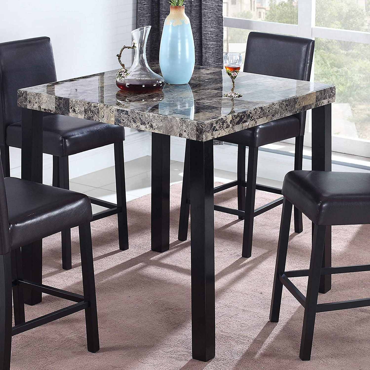 Preferred Faux Marble Finish Metal Contemporary Dining Tables Intended For Best Master Furniture Britney Transitional Faux Marble Top Counter Table,  Espresso Finish (View 20 of 30)