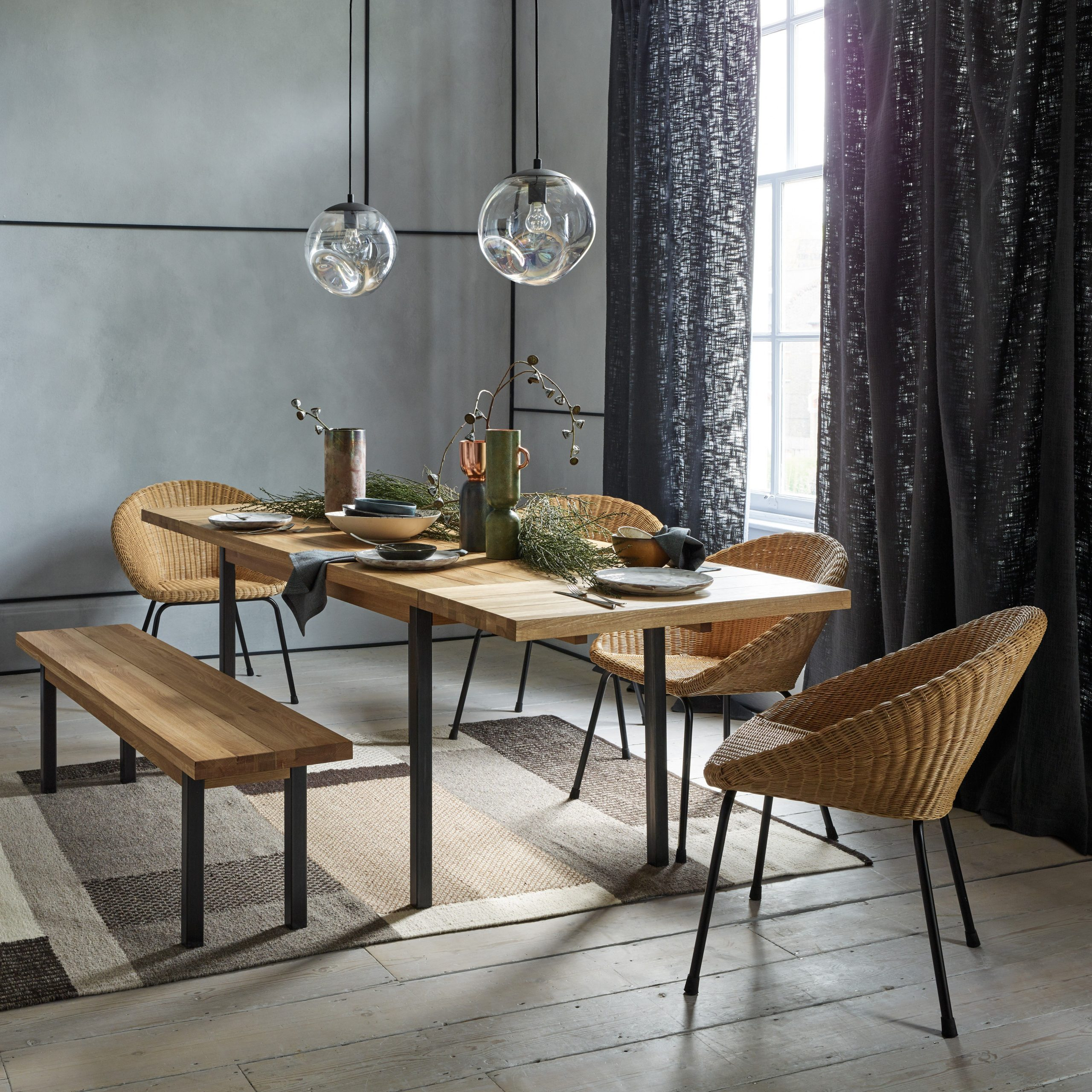 Preferred Feliz 6 12 Seater Solid Oak Extending Dining Table Within Rustic Mid Century Modern 6 Seating Dining Tables In White And Natural Wood (View 9 of 30)