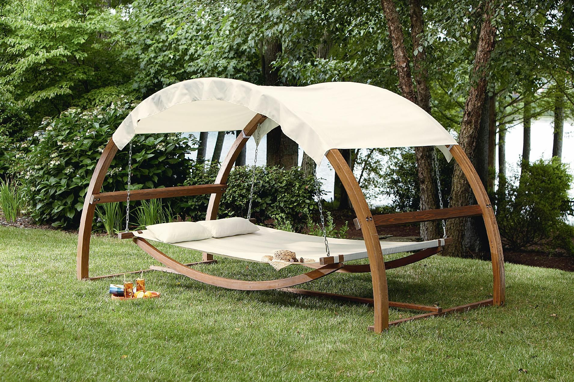 Preferred Garden Leisure Outdoor Hammock Patio Canopy Rocking Chairs Regarding I Would Never Come In The House!! Garden Oasis Arch Swing (View 13 of 30)