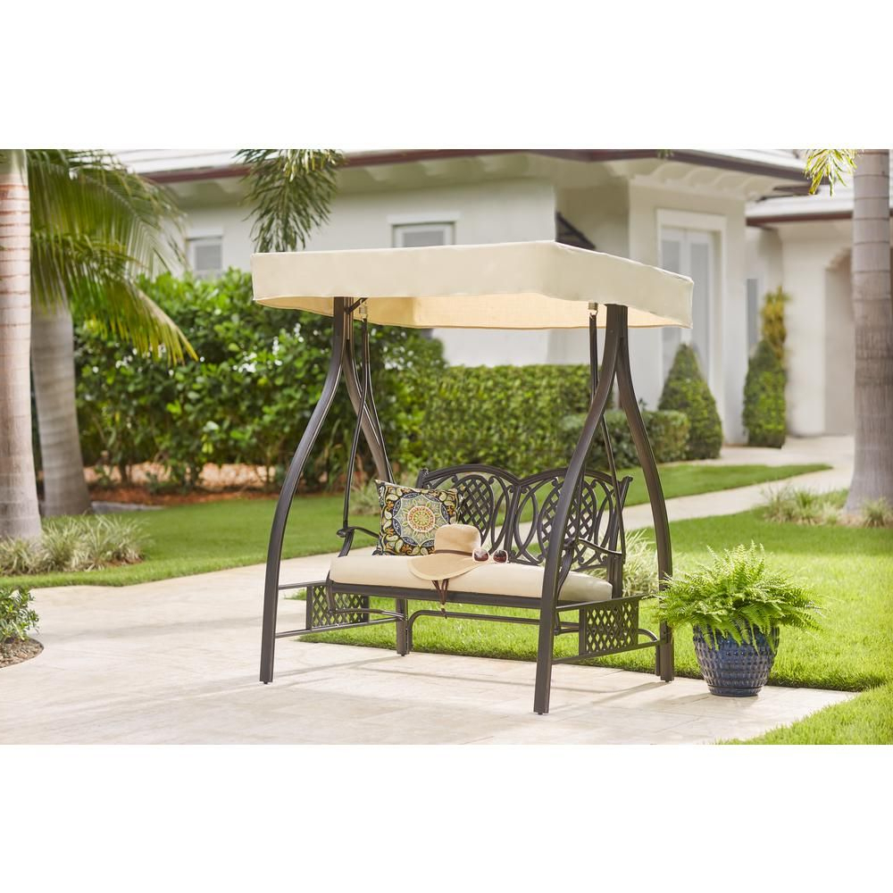 Preferred Hampton Bay Belcourt Metal Outdoor Swing With Stand And Inside Outdoor Pvc Coated Polyester Porch Swings With Stand (View 13 of 30)