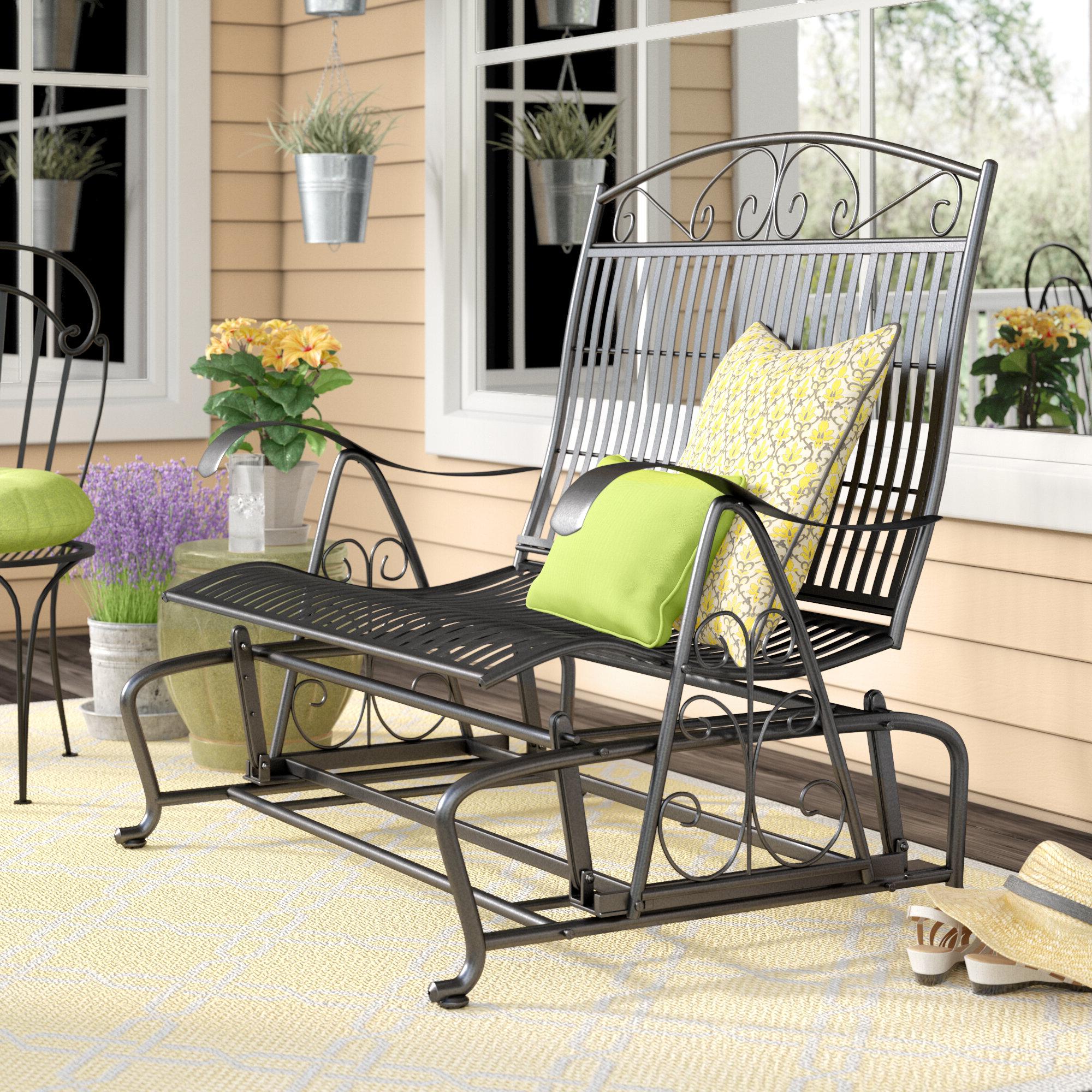 Preferred Iron Double Patio Glider Benches Within Nocona Iron Double Patio Glider Bench (View 7 of 30)