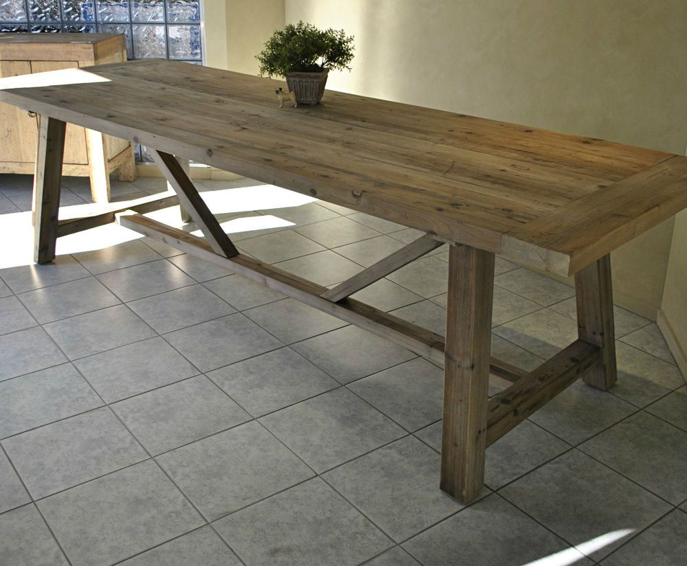 Preferred Large Rustic Look Dining Tables Inside Large Rustic French Style Recycled Timber Refectory Dining (View 6 of 30)