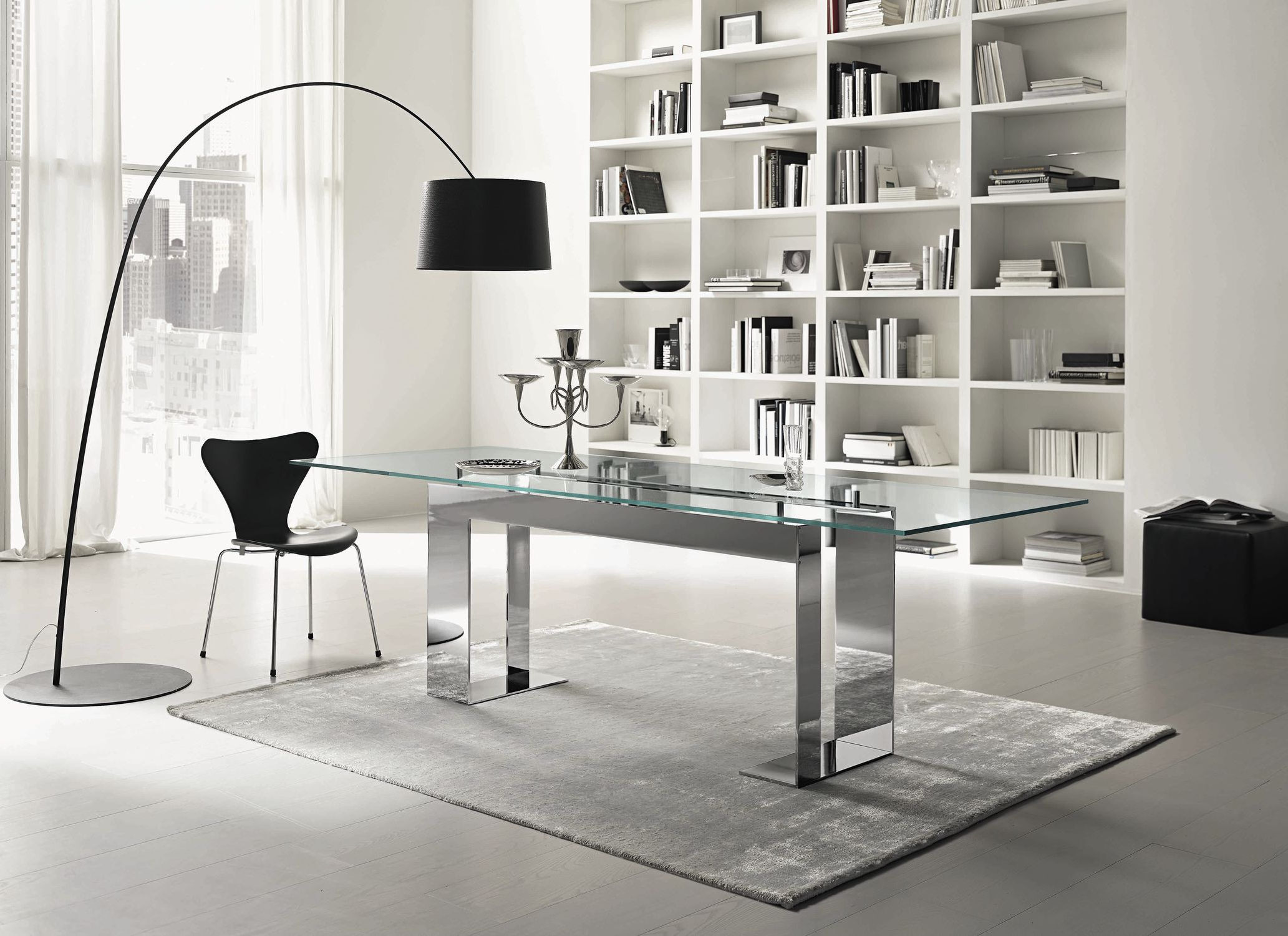 Preferred Long Dining Tables With Polished Black Stainless Steel Base Intended For Contemporary Table / Chromed Metal / Chromed Metal Base (View 7 of 30)