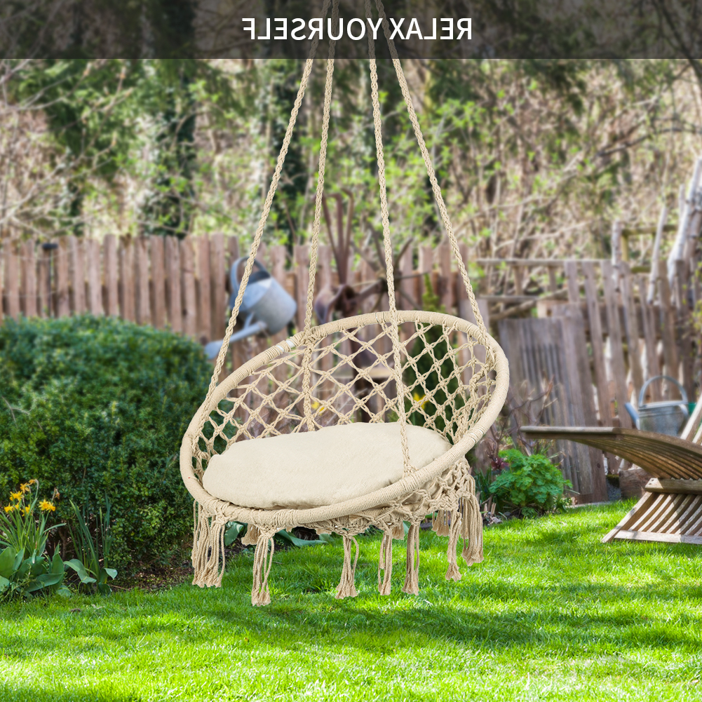 Preferred Omni Patio Swing Seat Hanging Hammock Cotton Rope Chair With With Patio Hanging Porch Swings (View 15 of 30)
