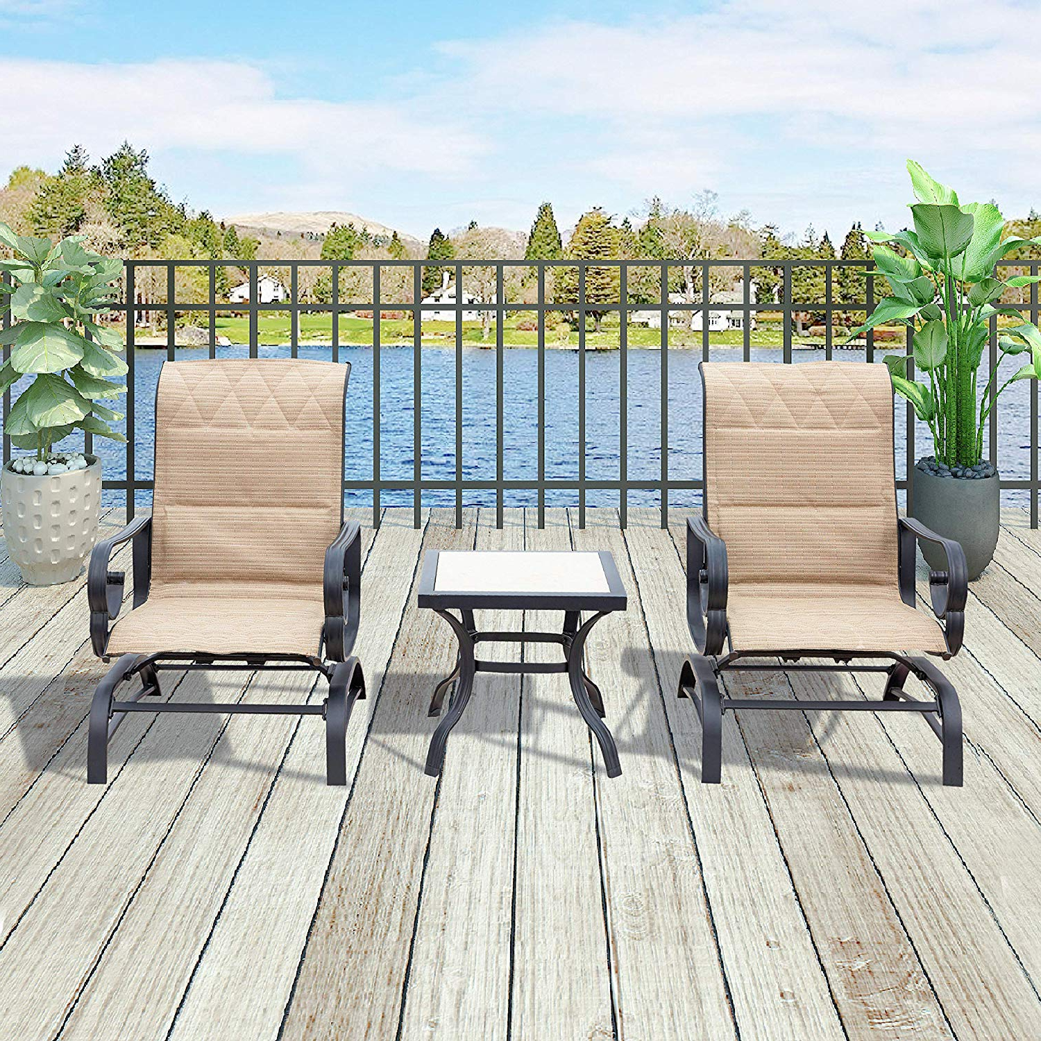 Preferred Outdoor Patio Swing Glider Bench Chair S With Patio Festival ® Outdoor Swing Glider Chair Patio Swing Furniture Sets Seating Rocking Bistro Chairs Set,2 Chairs And 1 Table (3 Pcs, Beige) (View 7 of 30)