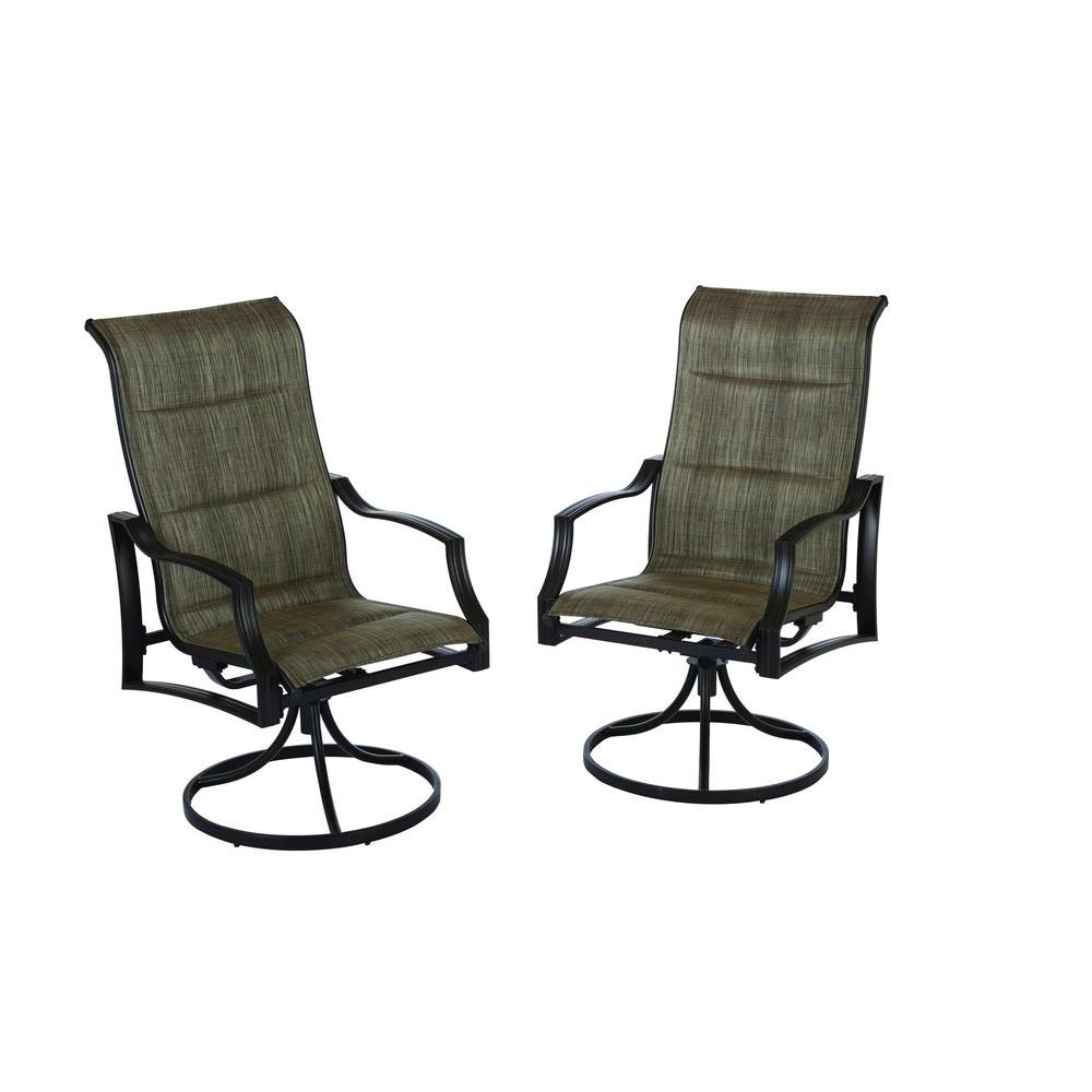 Preferred Padded Sling High Back Swivel Chairs Regarding Hampton Bay Statesville Padded Sling Patio Lounge Swivel Chairs (2 Pack) (View 6 of 30)