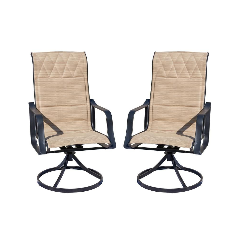 Preferred Patio Festival Swivel Padded Sling Outdoor Dining Chair In Throughout Padded Sling High Back Swivel Chairs (View 16 of 30)