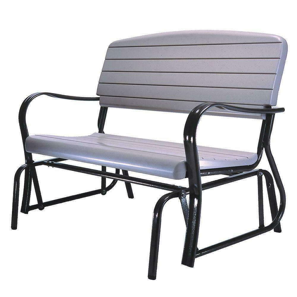 Preferred Patio Glider Bench Steel Frame Powder Coated Seat Heavy Duty Sturdy Plastic Regarding Outdoor Swing Glider Chairs With Powder Coated Steel Frame (View 11 of 30)