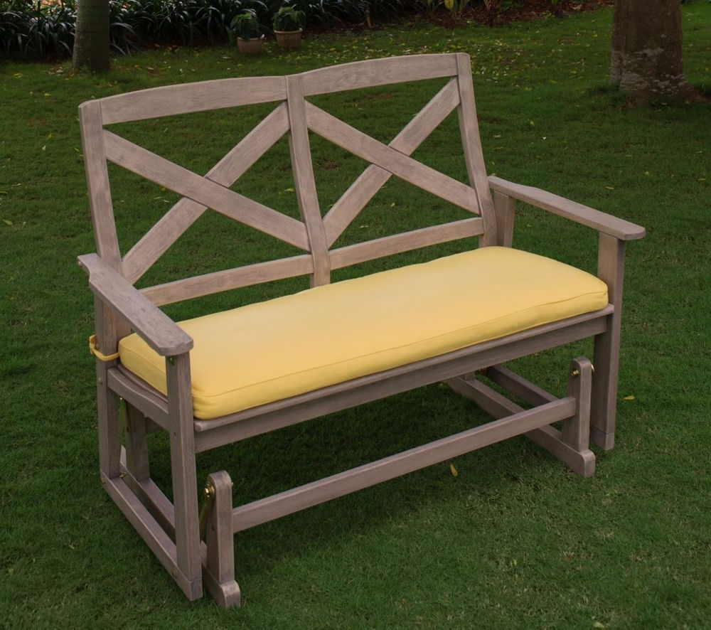 Preferred Rocking Glider Benches With Cushions Throughout Details About Patio Wood Glider Bench Outdoor Furniture (View 17 of 30)