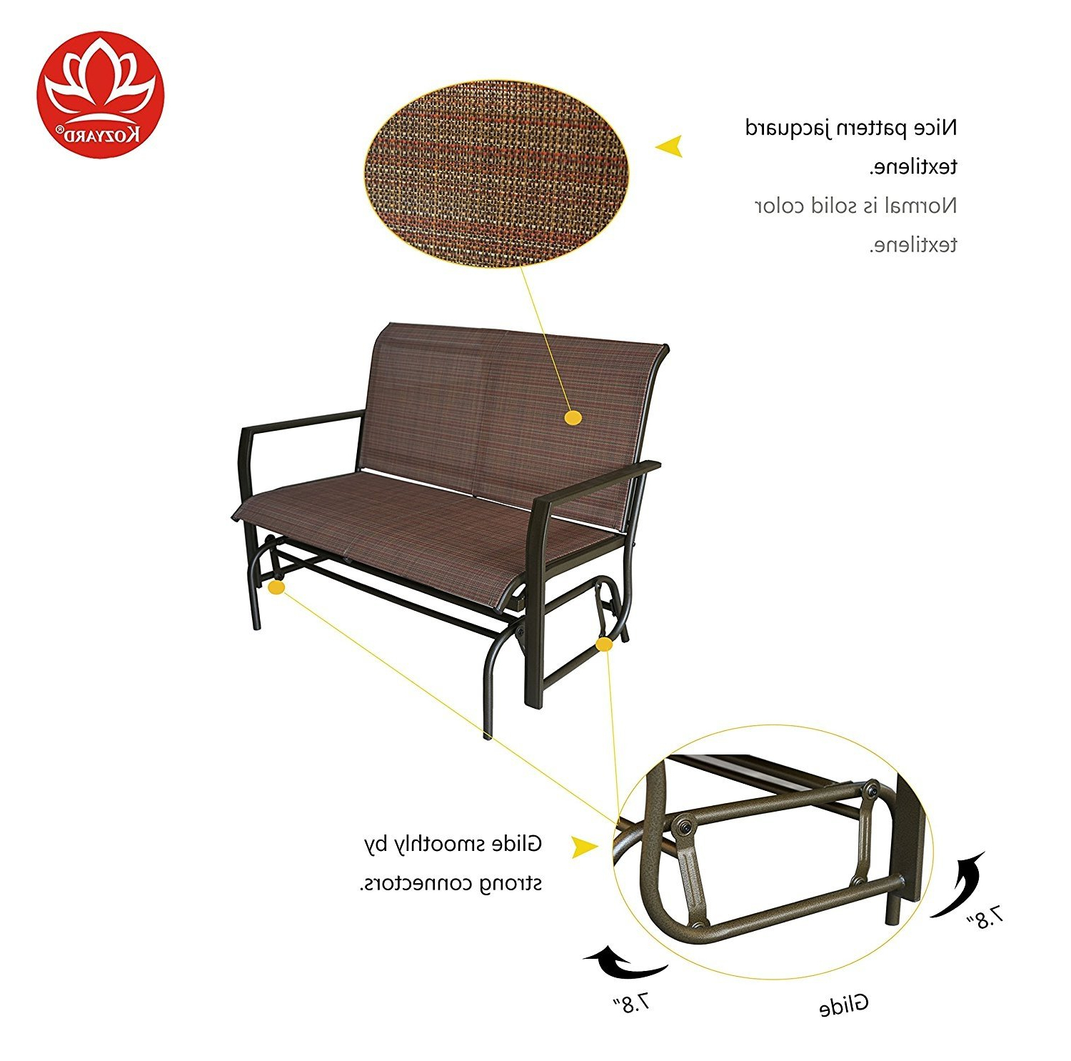 Preferred Rocking Love Seats Glider Swing Benches With Sturdy Frame For Kozyard Cozy Two Rocking Love Seats Glider Swing Bench (View 15 of 30)