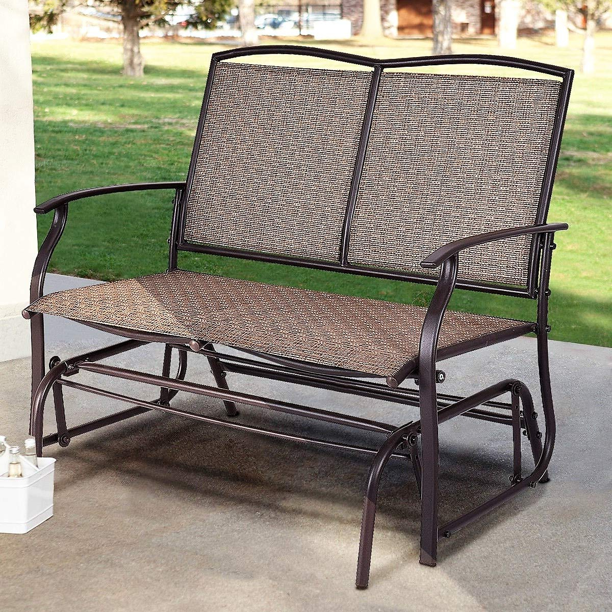 Preferred Rocking Love Seats Glider Swing Benches With Sturdy Frame Regarding Amazon : Lucky Gift – Patio Glider Rocking 2 Person (View 21 of 30)