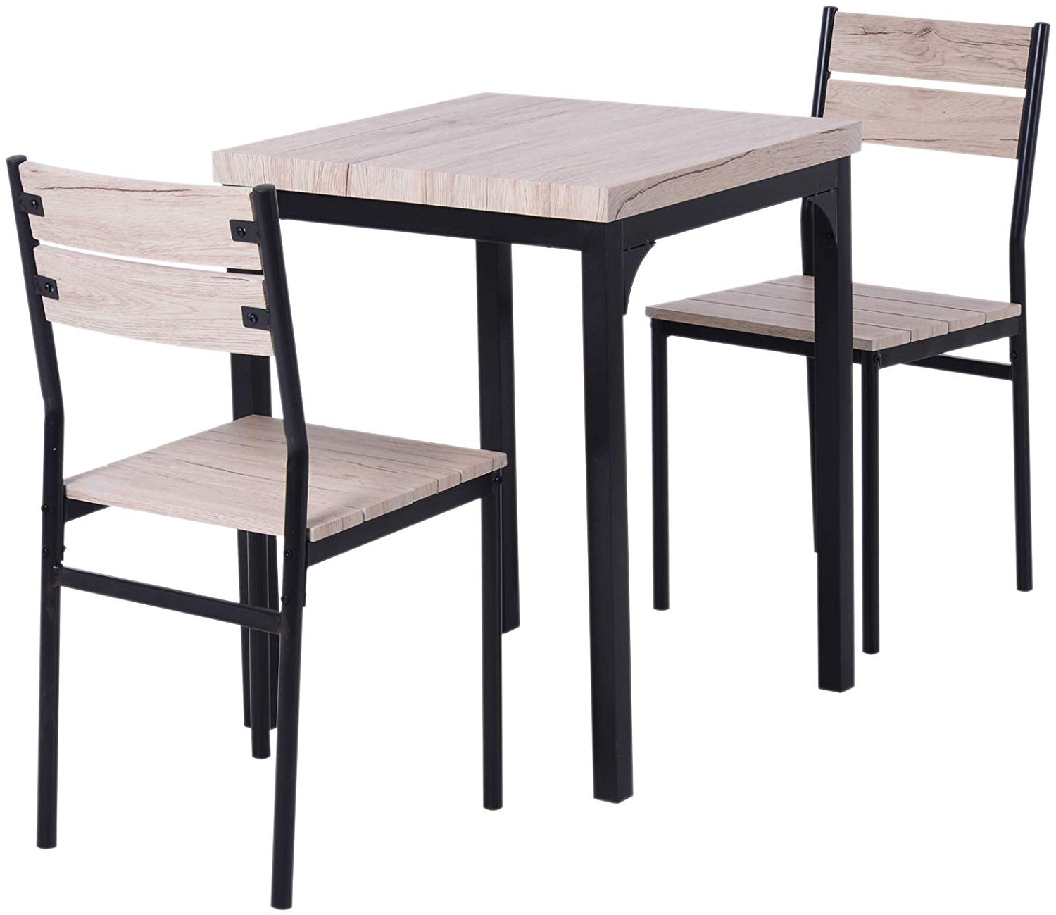 Preferred Rustic Country 8 Seating Casual Dining Tables Pertaining To Homcom Rustic Country Wood Top 3 Piece Kitchen Table Dining Set W/chairs (View 5 of 30)