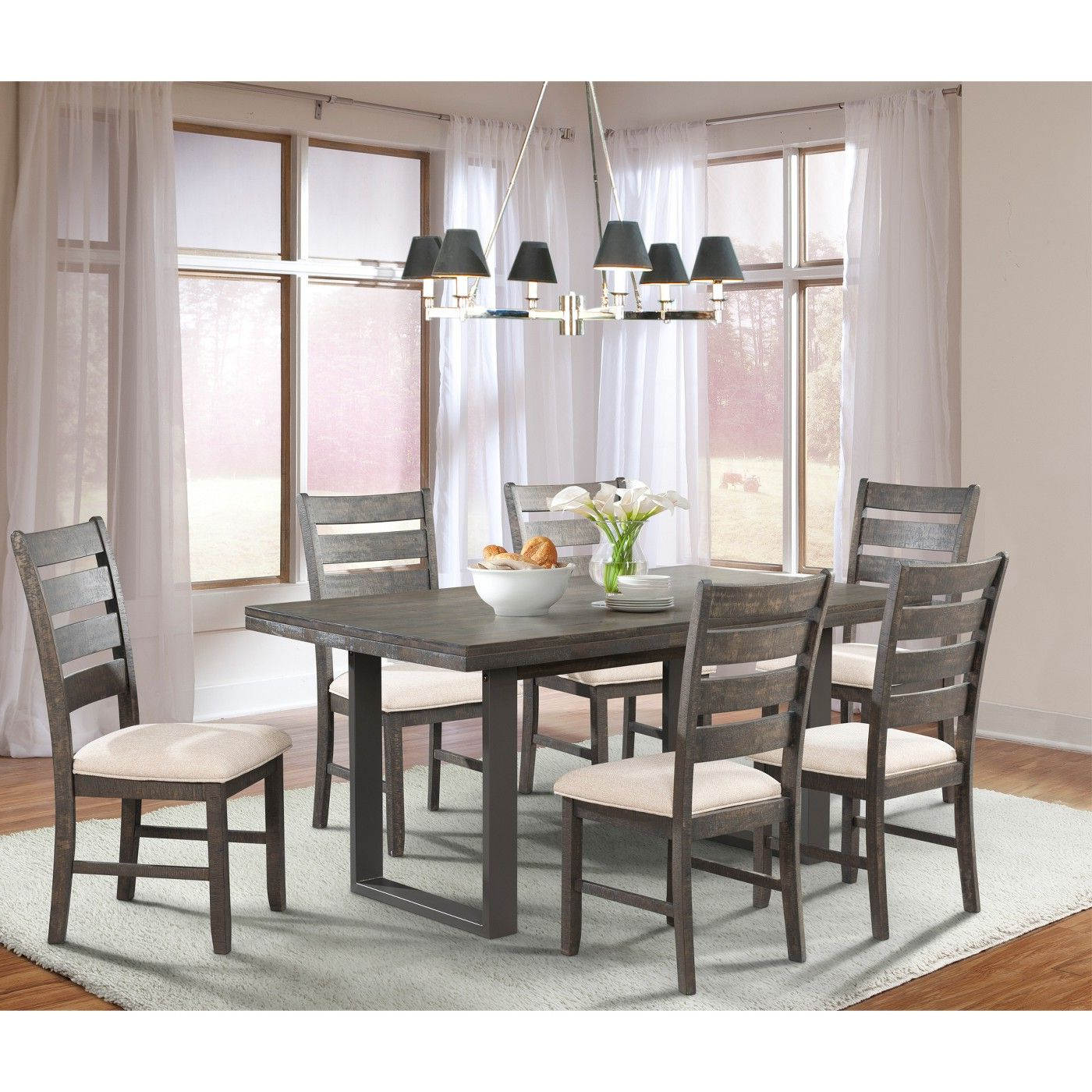 Preferred Small Dining Tables With Rustic Pine Ash Brown Finish Pertaining To Sullivan 7pc Dining Set Table And 6 Side Chairs Dark Ash (View 11 of 30)