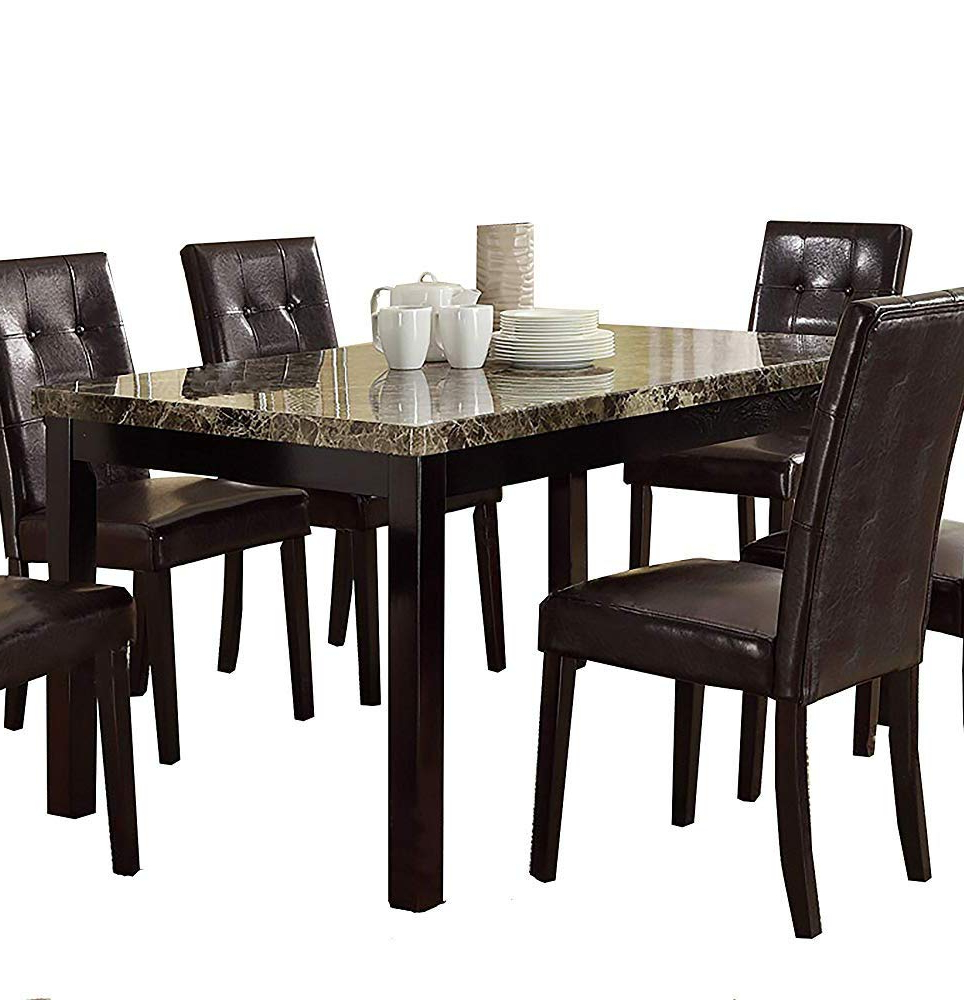 Preferred Small Dining Tables With Rustic Pine Ash Brown Finish Within Amazon – Benzara Slick Finish Faux Marble & Pine Wood (View 6 of 30)