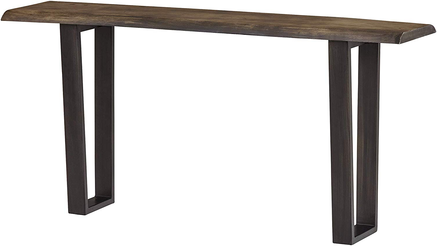 "Preferred Stone & Beam Garrett Rustic Acacia Wood Sofa Table With Iron Legs, 60""w, Gray And Raw Metal For Acacia Wood Top Dining Tables With Iron Legs On Raw Metal (View 3 of 30)"