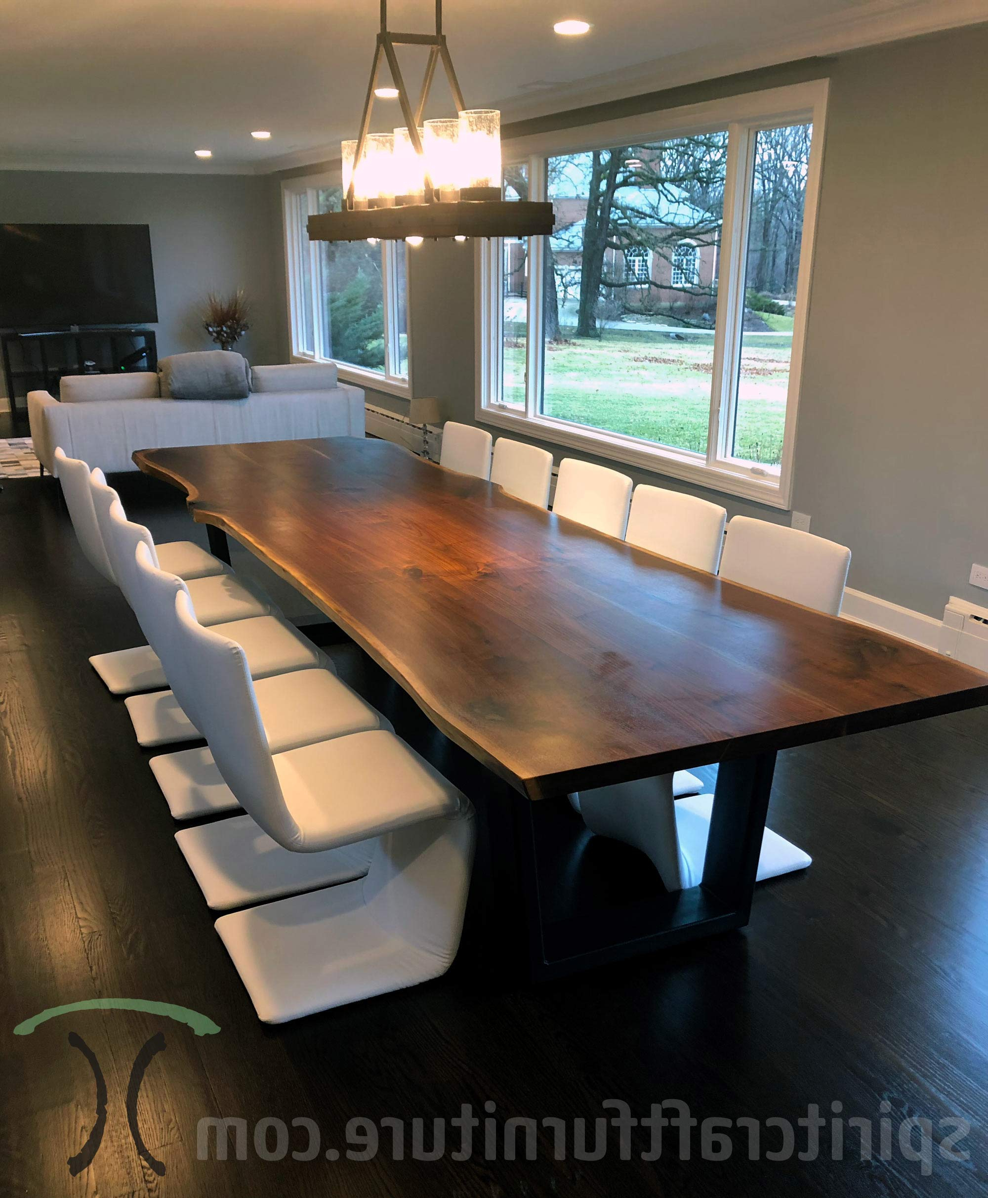Preferred Walnut Finish Live Edge Wood Contemporary Dining Tables Throughout Custom Solid Wood And Live Edge Dining Conference Tables (View 19 of 30)