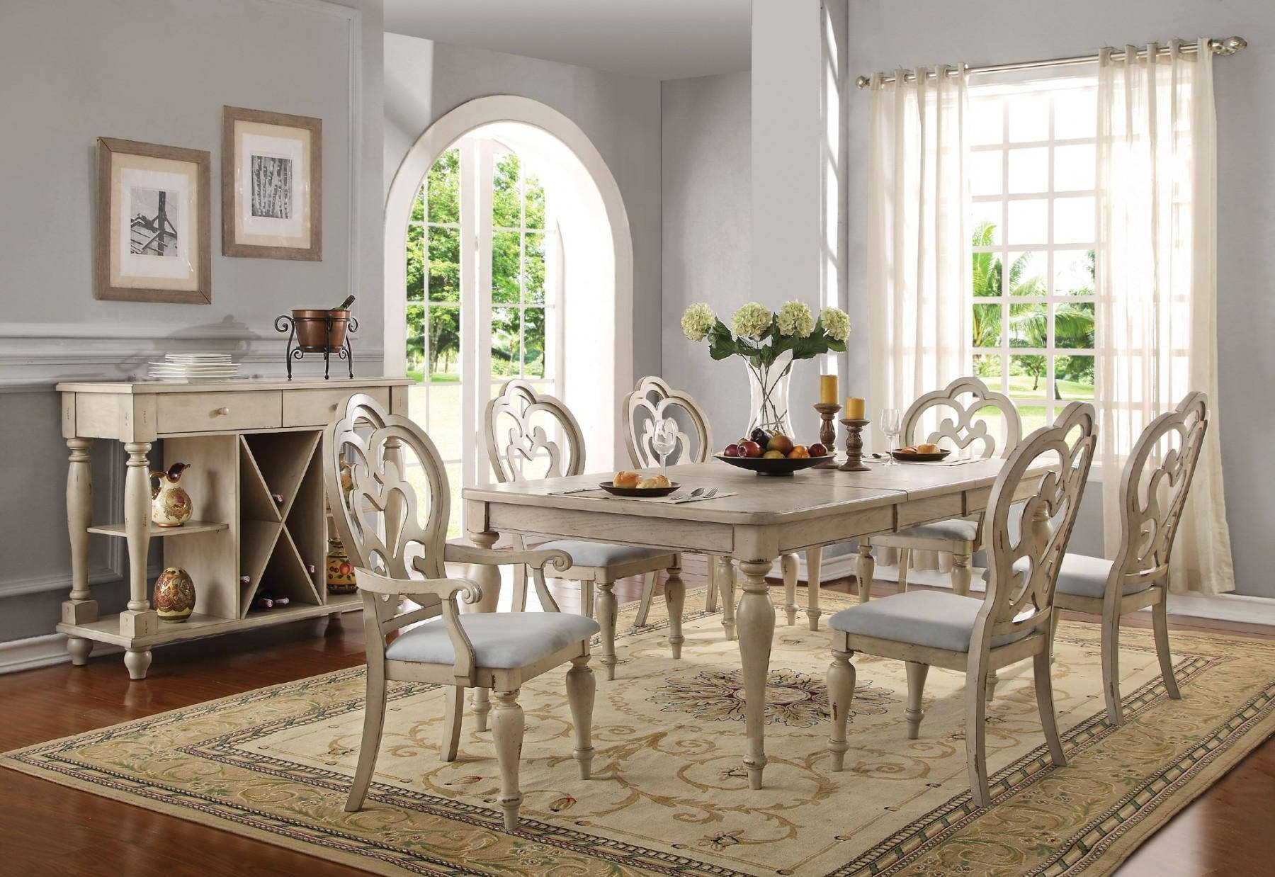 Provence Antique White Dining Table Set 7pcs Acme Furniture For Well Known Provence Accent Dining Tables (View 18 of 30)