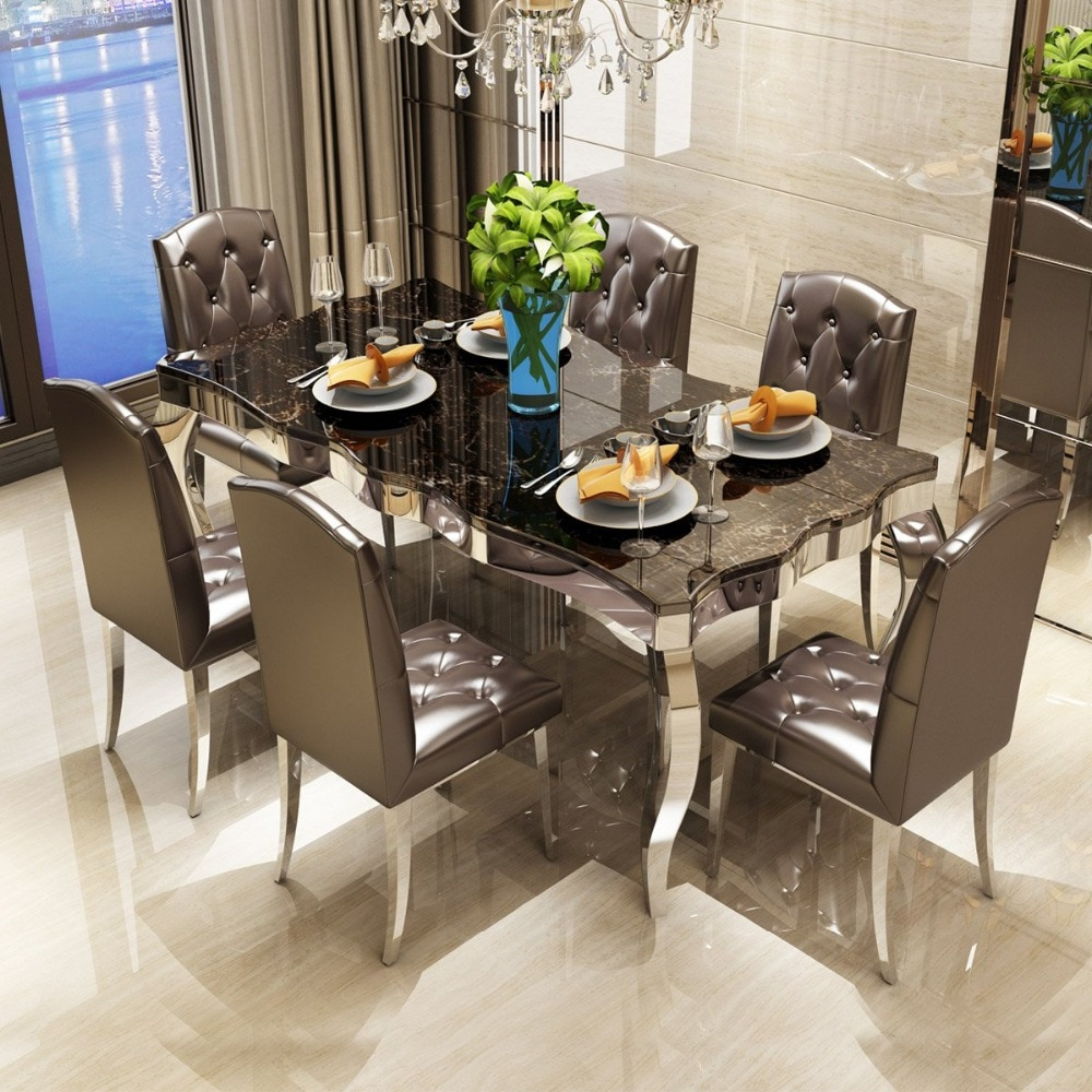 Rama Dymasty Stainless Steel Dining Room Set Home Furniture Modern Marble Dining Table And 6 Chairs,rectangle Table In Dining Tables From (View 2 of 30)