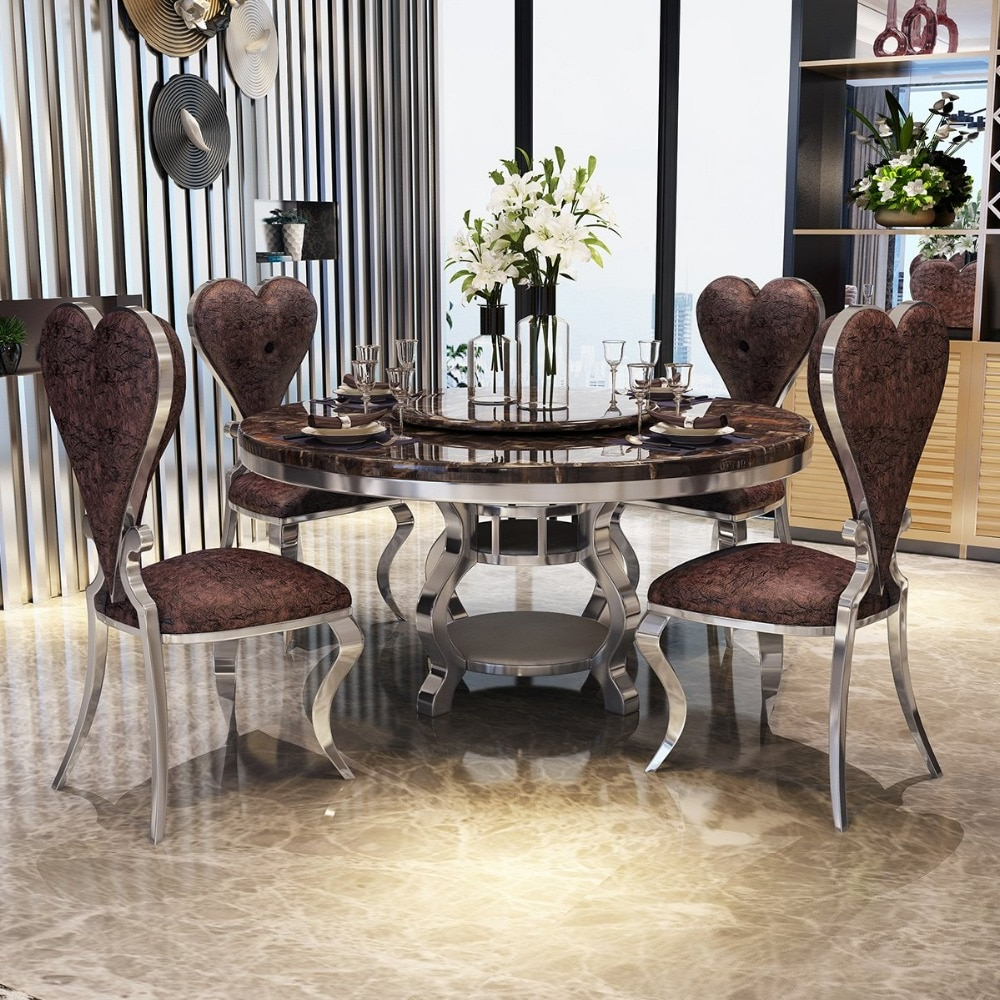 Rama Dymasty Stainless Steel Dining Room Set Home Furniture Modern Marble Dining Table And 6 Chairs,round Dining Table In Dining Tables Throughout Dom Round Dining Tables (View 21 of 30)