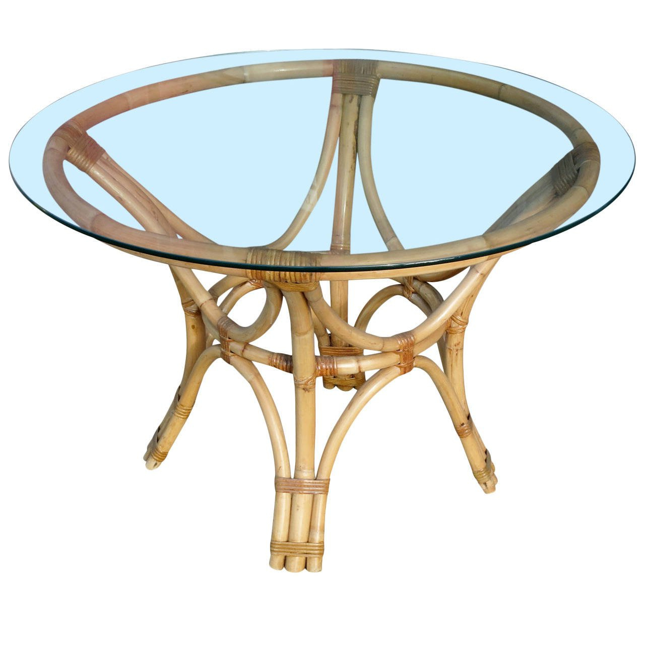 Rattan Bent Wood Dining Table With Round Glass Top For Retro With Regard To 2018 Retro Round Glasstop Dining Tables (View 29 of 30)
