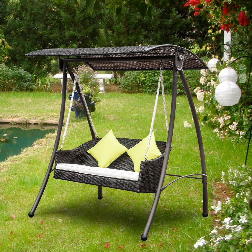 Rattan Garden Swing Chairs With Most Recently Released 3 Seater Rattan Garden Swing Chair Patio Swinging Hammock (View 9 of 31)