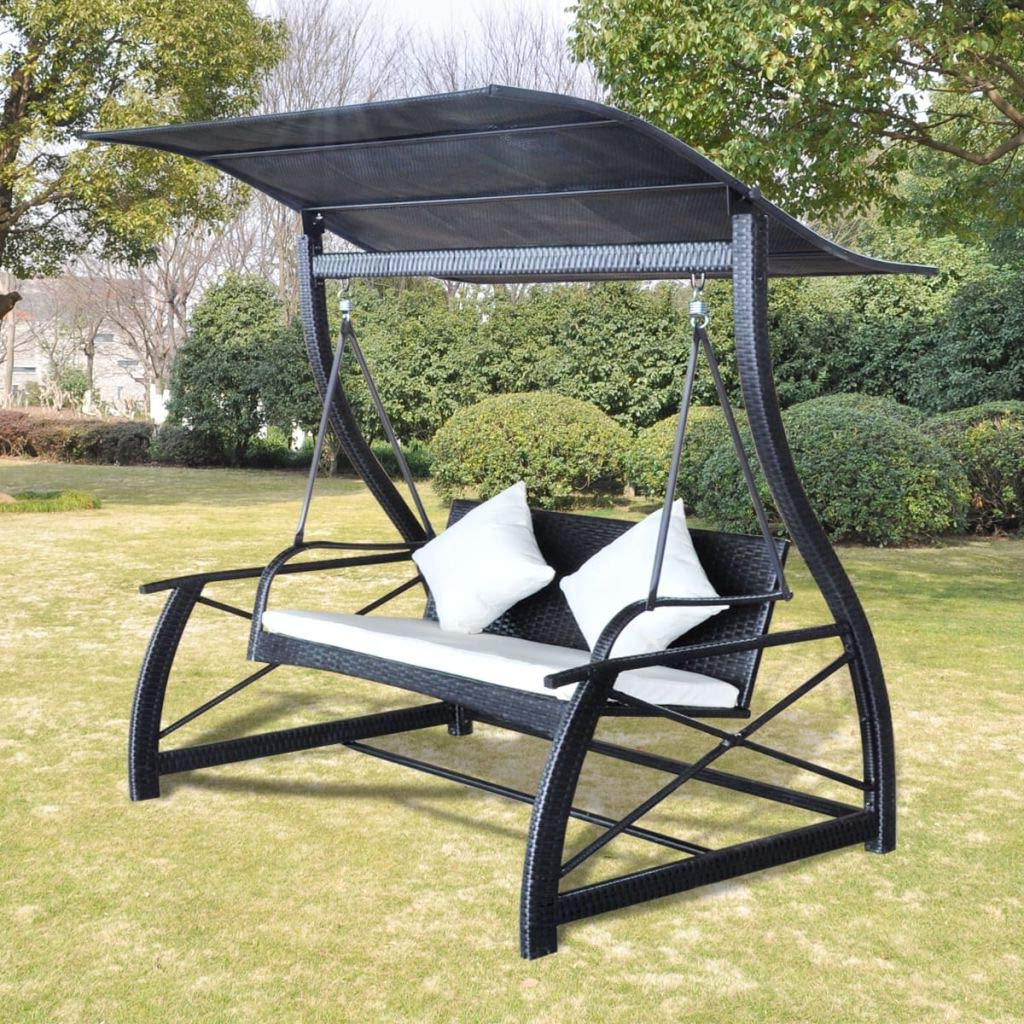 Rattan Garden Swing Chairs With Regard To Most Recent Amazon : Asmuse Garden Swing Chair Poly Rattan Black (View 8 of 31)