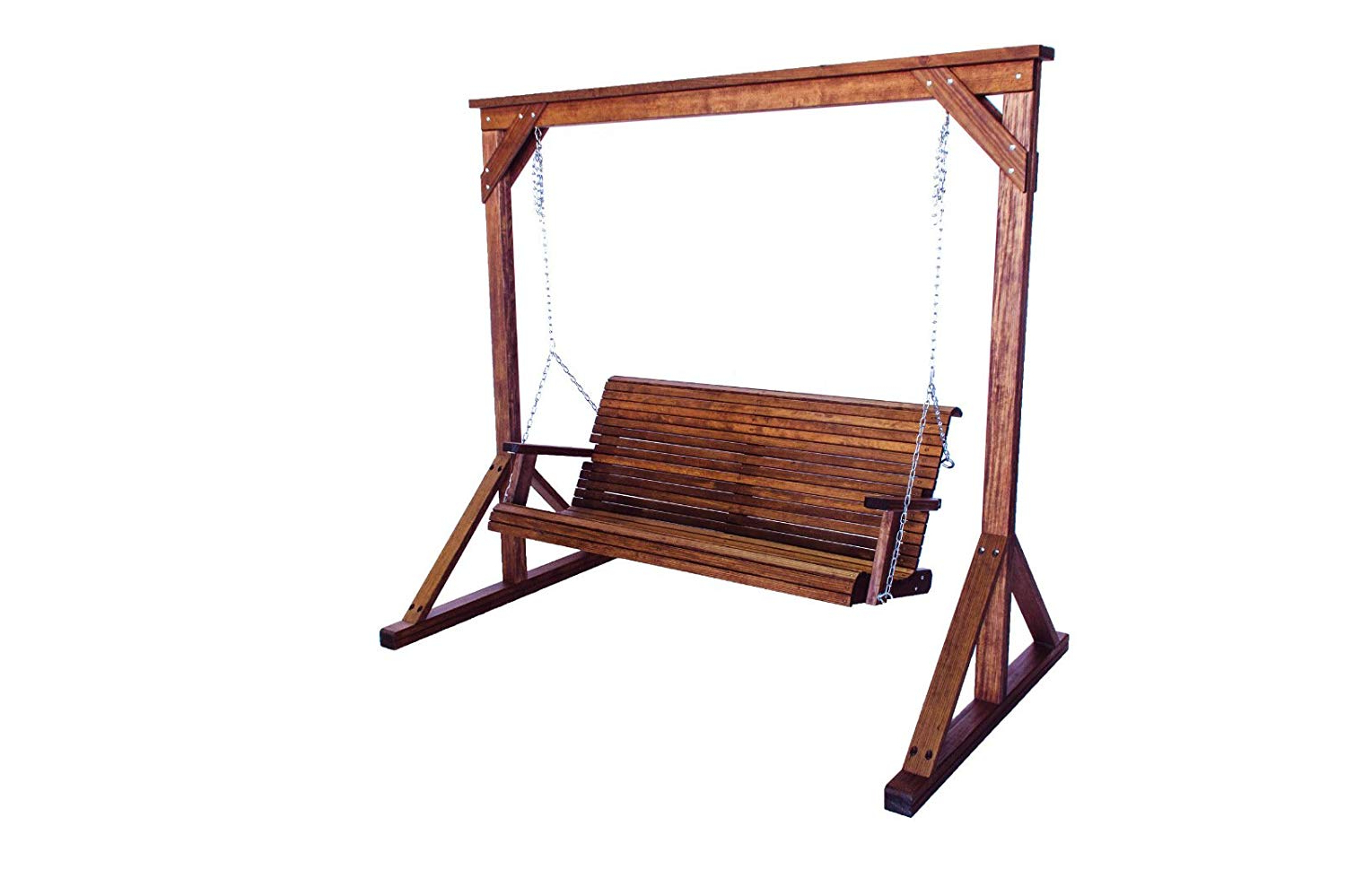 Recent 2 Person Light Teak Oil Wood Outdoor Swings Inside Amazon : Burleson Home Furnishings Solid Wood Quality (View 5 of 30)